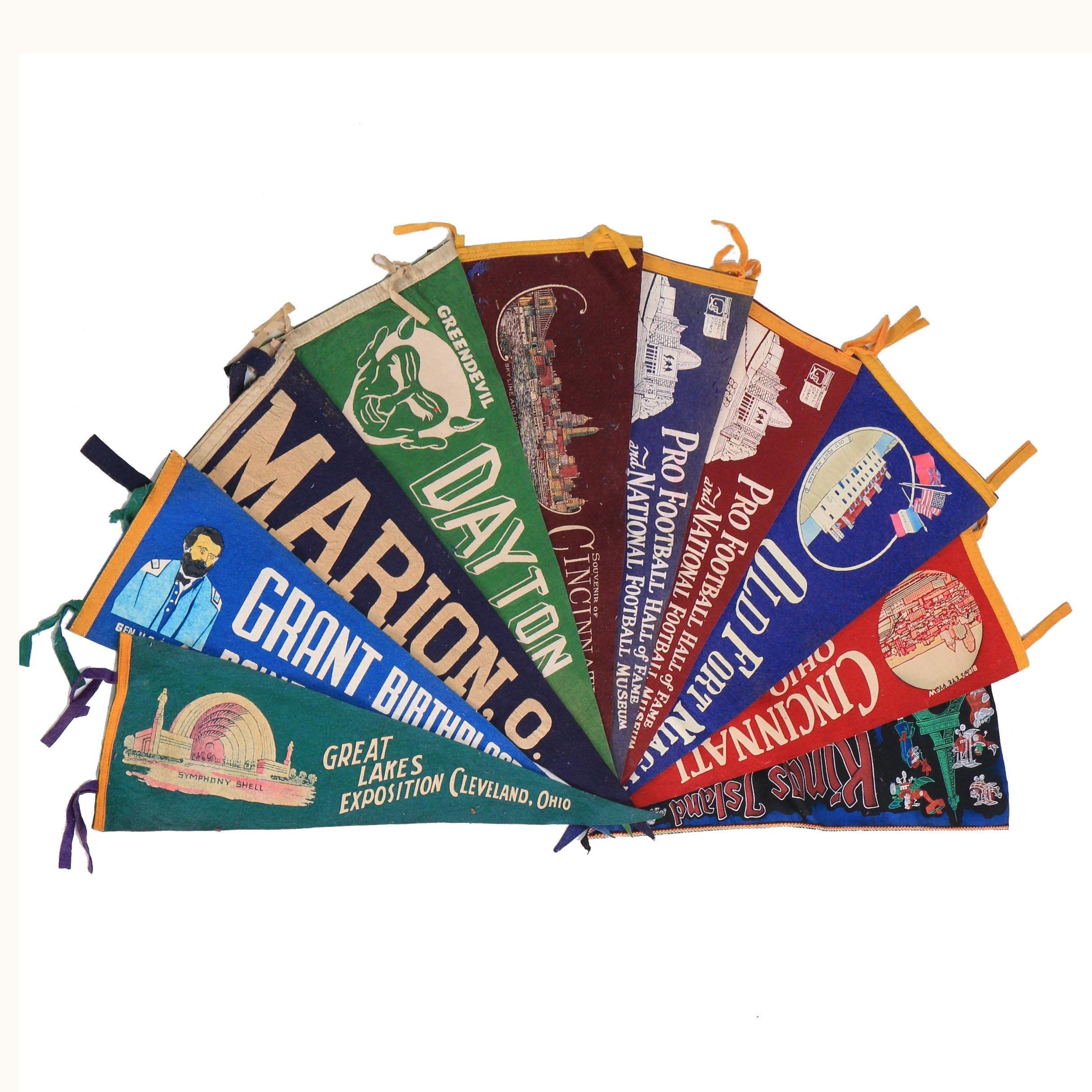 Vintage Cincinnati, Dayton, Kings Island and Other Souvenir Pennants