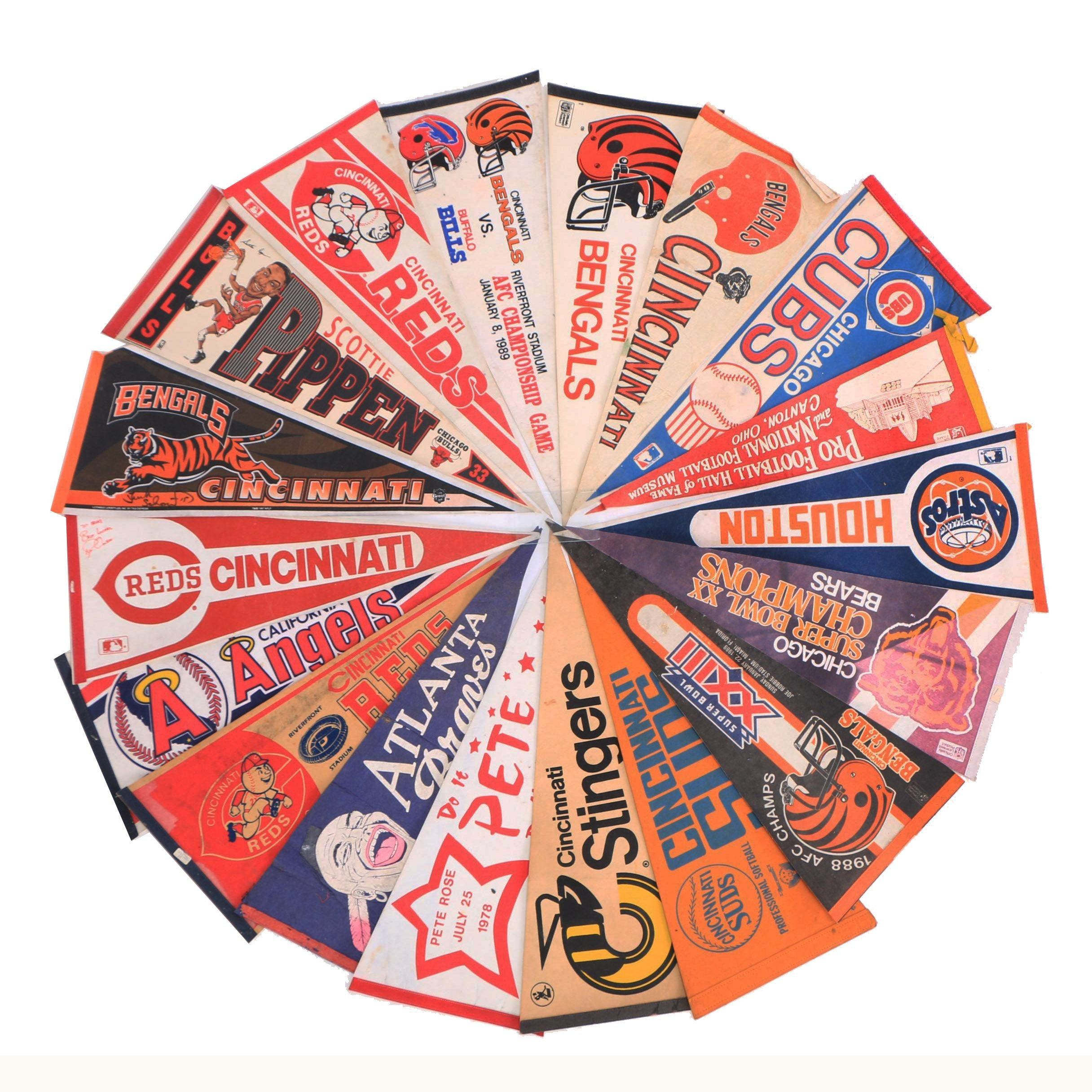 Vintage Bengals, Reds, Cubs, Astros and Other Sports Pennants