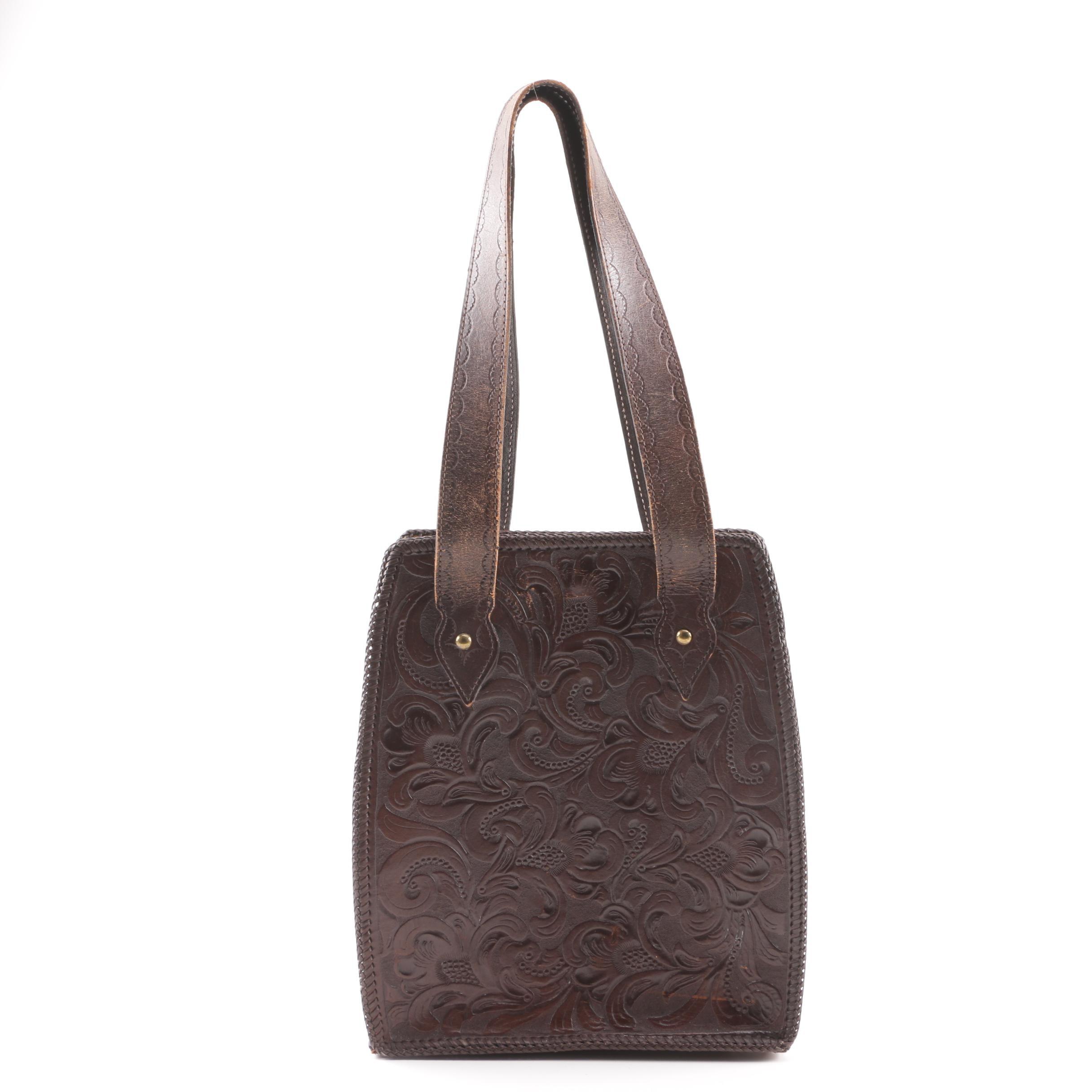 Mary Alice Palmer Design Tooled Dark Brown Leather Shoulder Bag