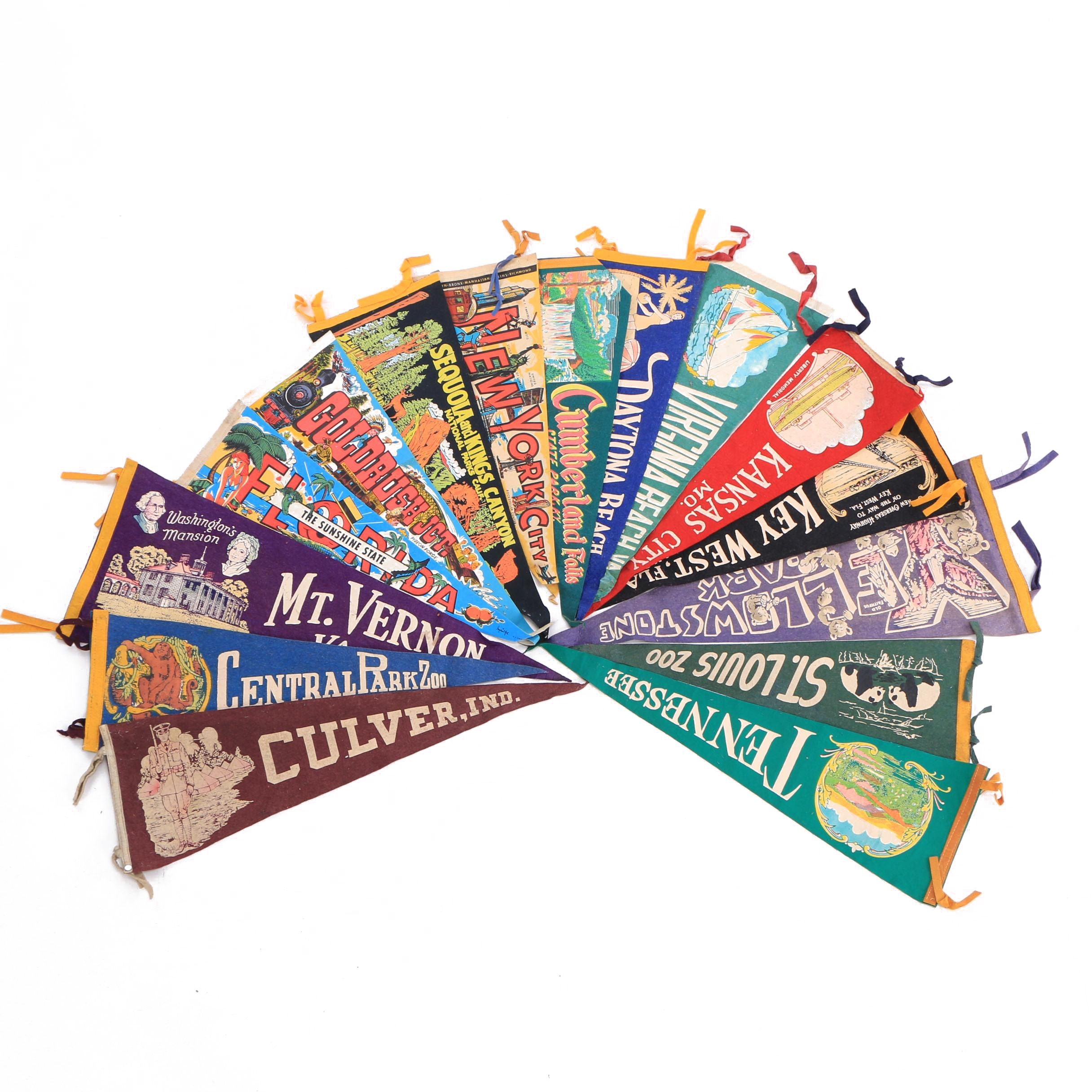 Vintage Key West, NYC, Cumberland Falls and Other Souvenir Pennants