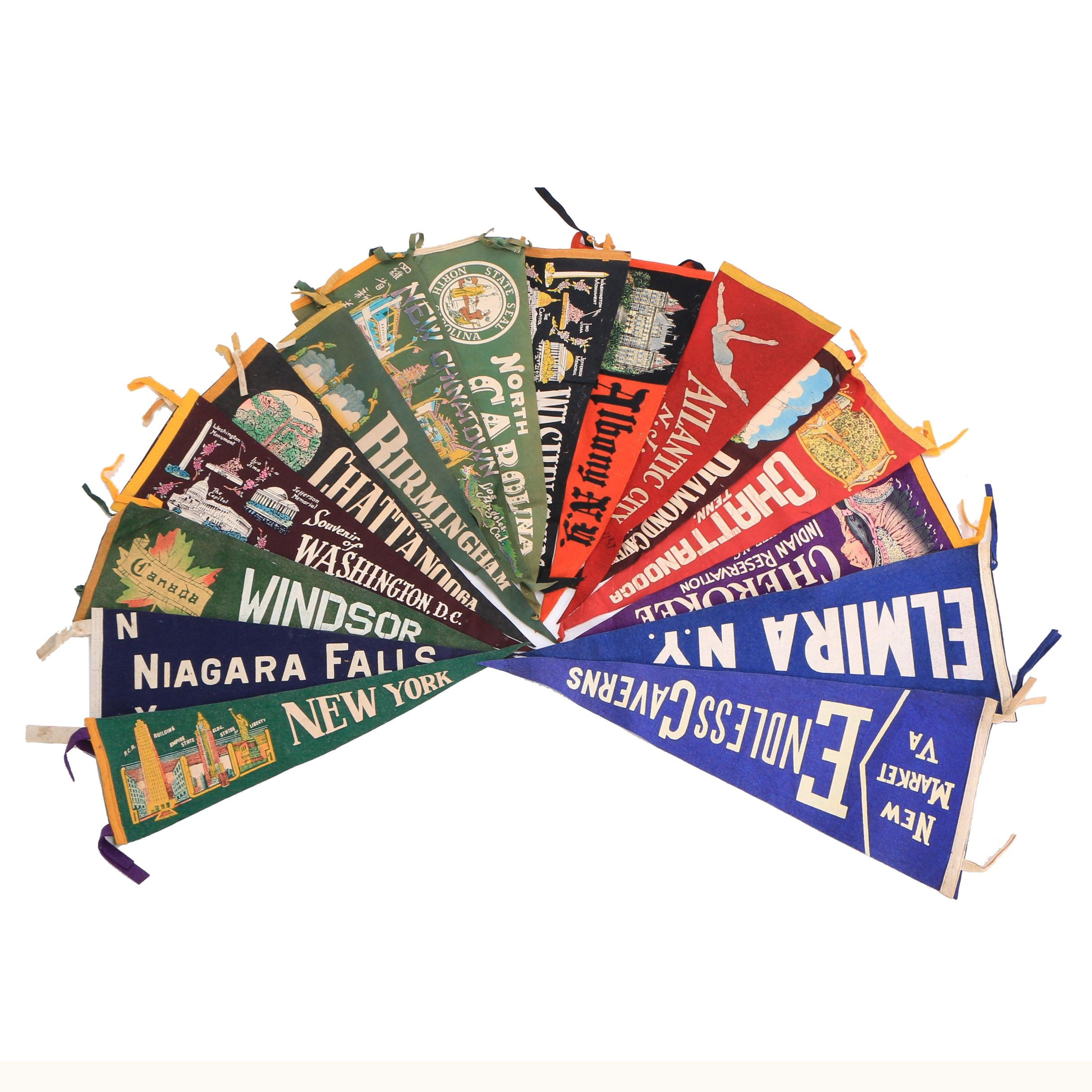 Vintage Niagara Falls, Chattanooga, Atlantic City and Other Souvenir Pennants