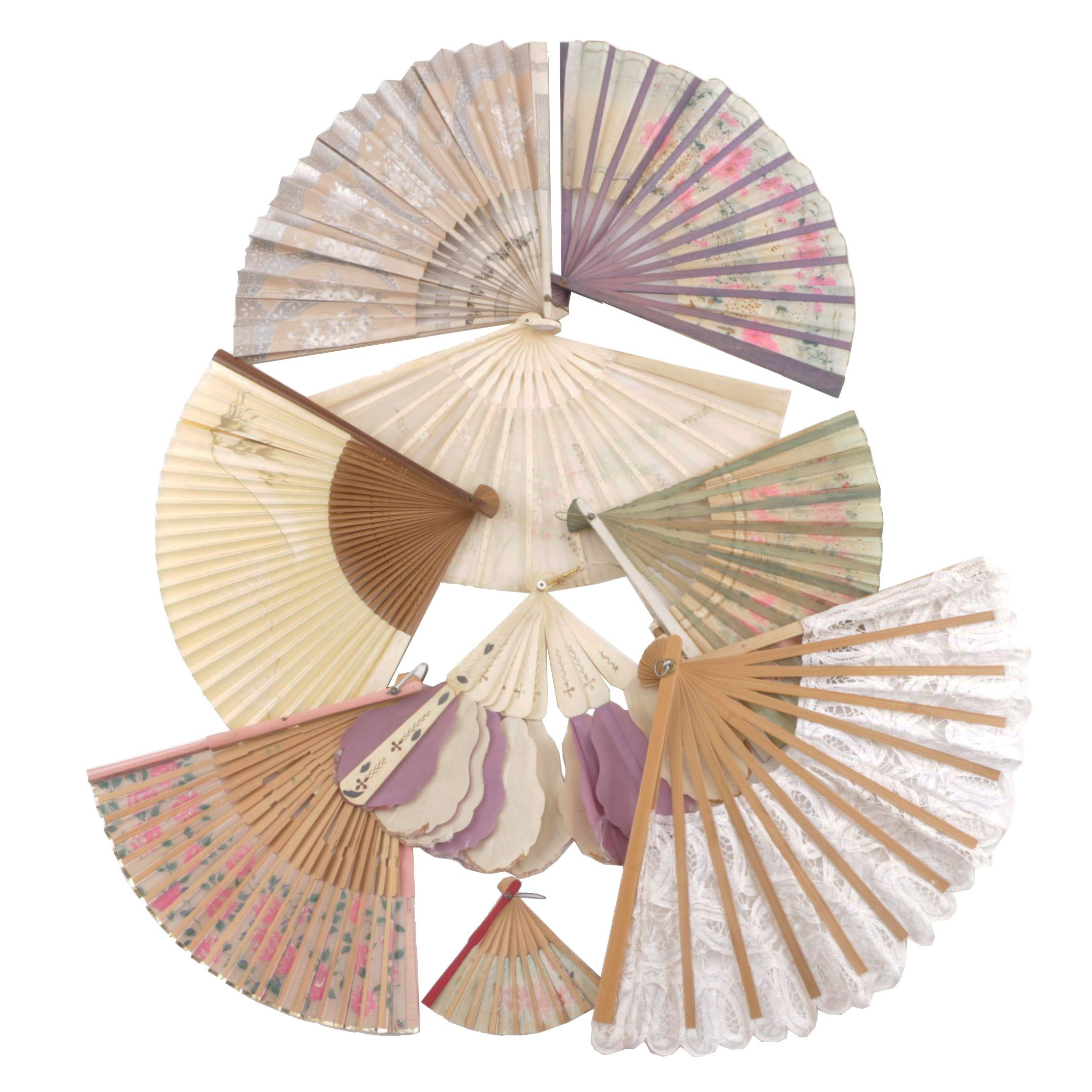 Vintage Folding Fans Including Wood, Lace and Bone
