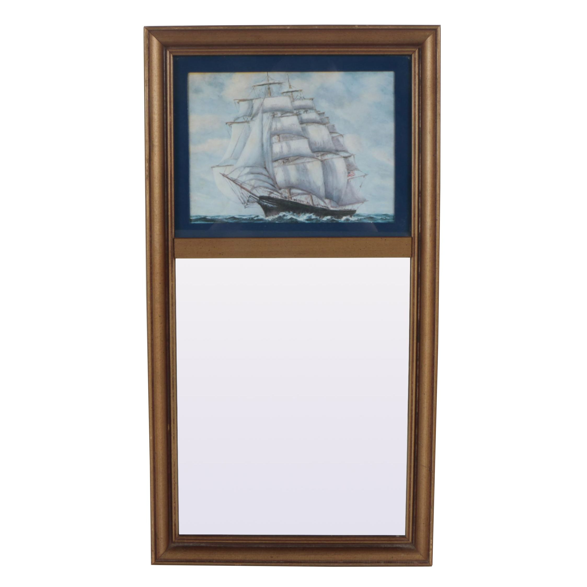 Trumeau Mirror with Offset Lithograph Depicting a Schooner