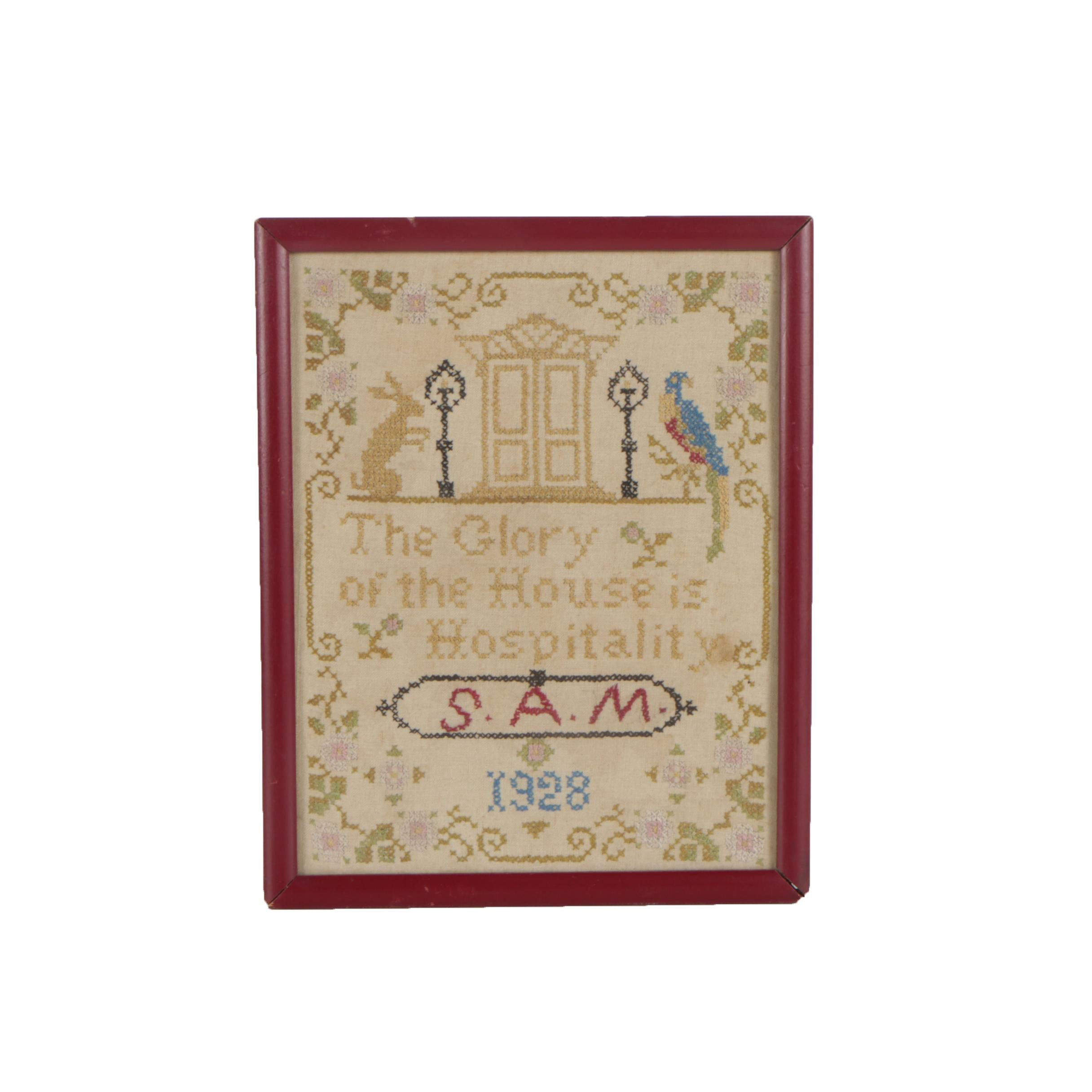 "1928 Cotton Cross Stitch ""The Glory of the House is Hospitality"""