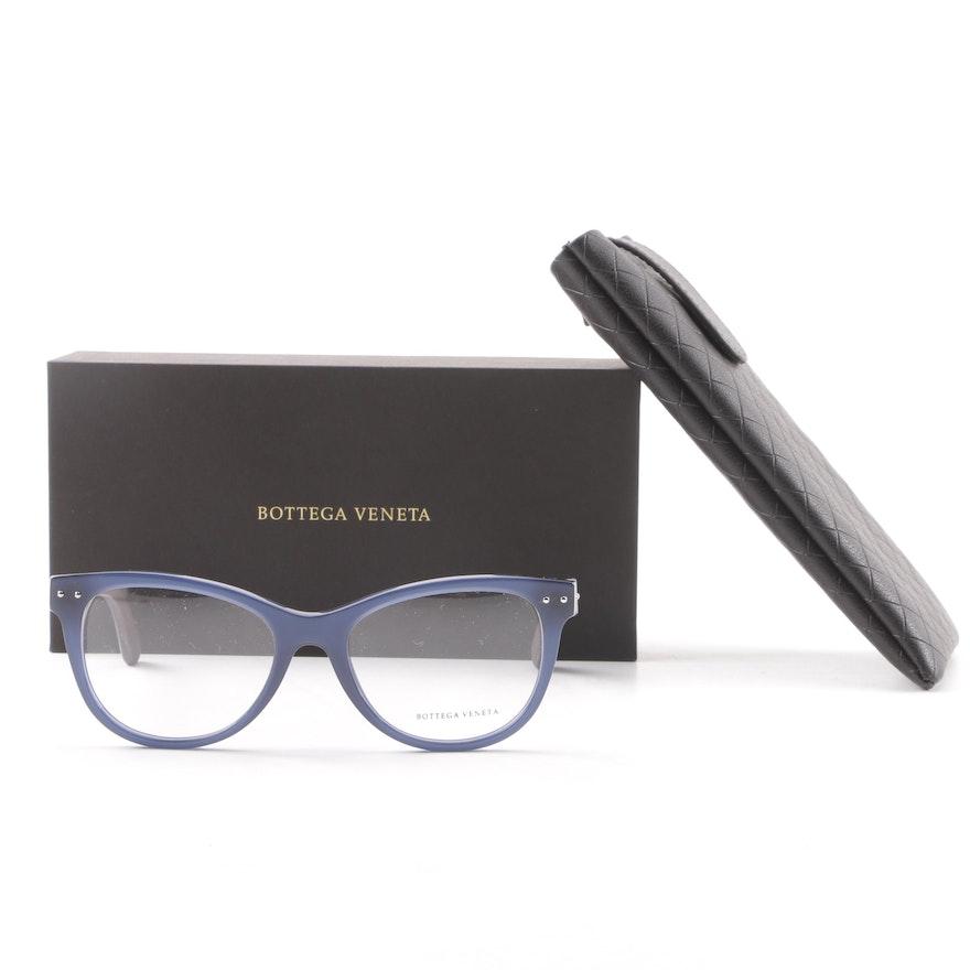 3af046e408f Bottega Veneta BV0009O 008 Blue and Brown Framed Eyeglasses with Leather    EBTH