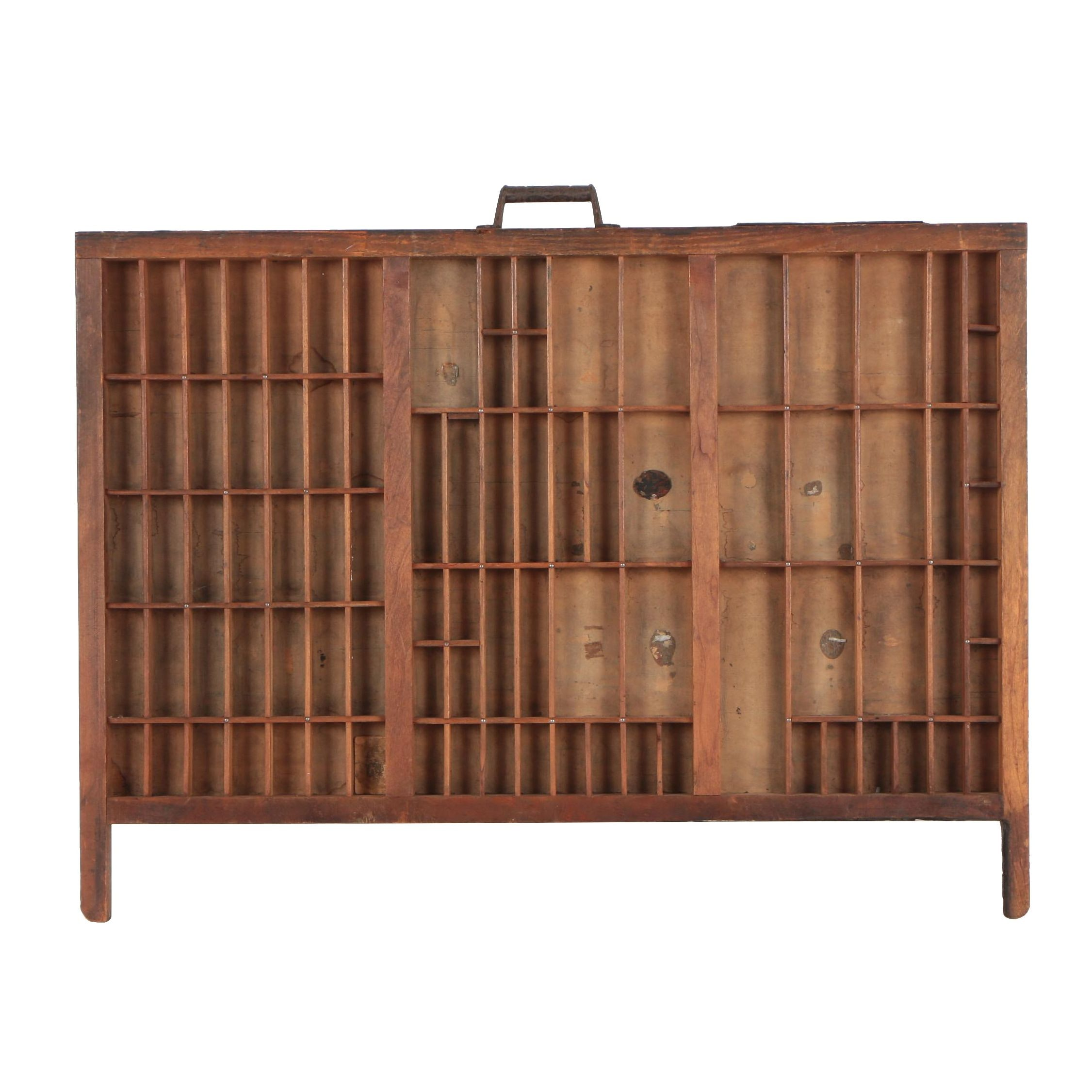 Wooden Letterpress Tray with Metal Handle and Plaque
