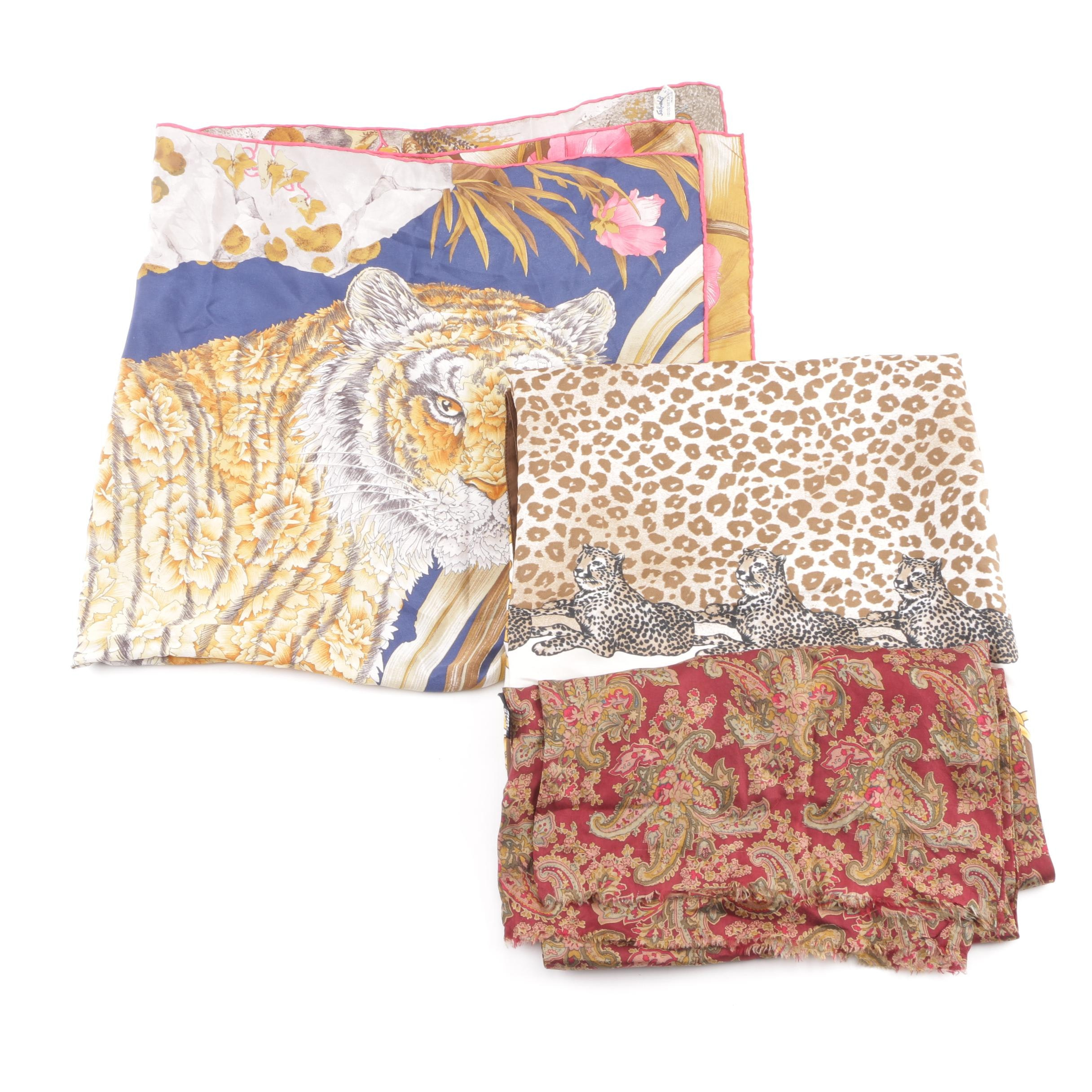 Women's Floral and Animal Print Scarves Including Salvatore Ferragamo