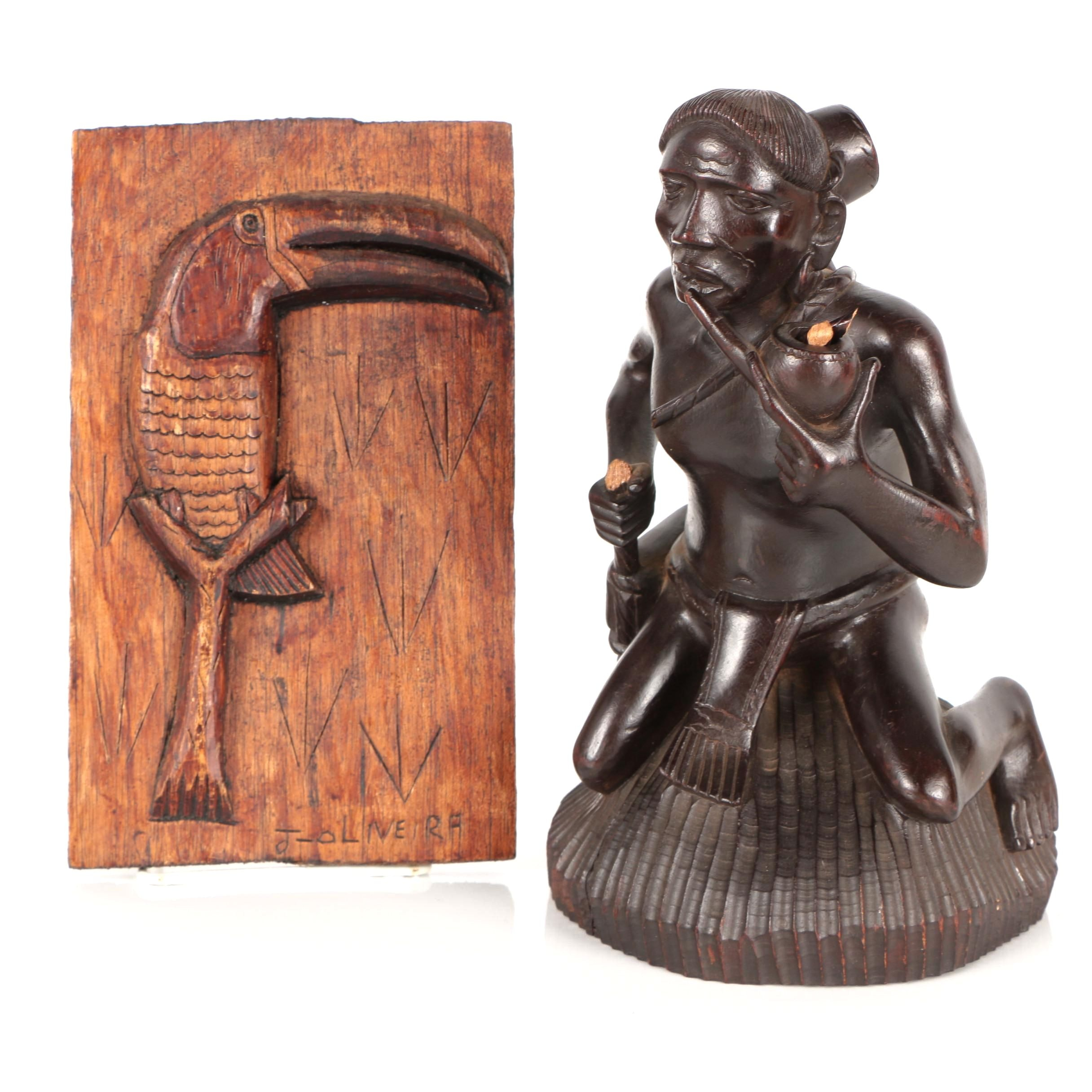 Hand-Carved Wooden Plaque and Figurine