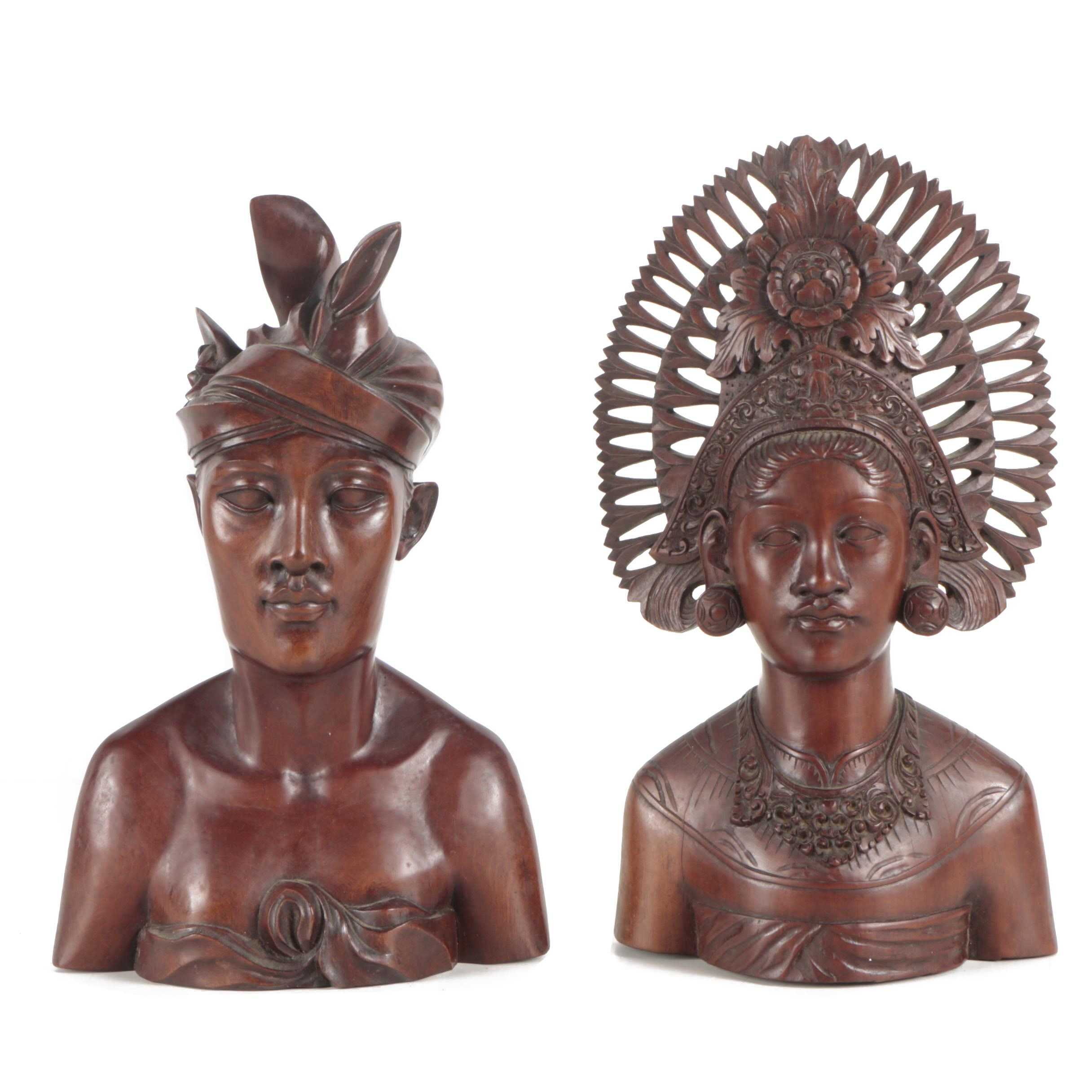 Balinese Hand-Carved Wooden Sculptures Featuring A. Fatimah