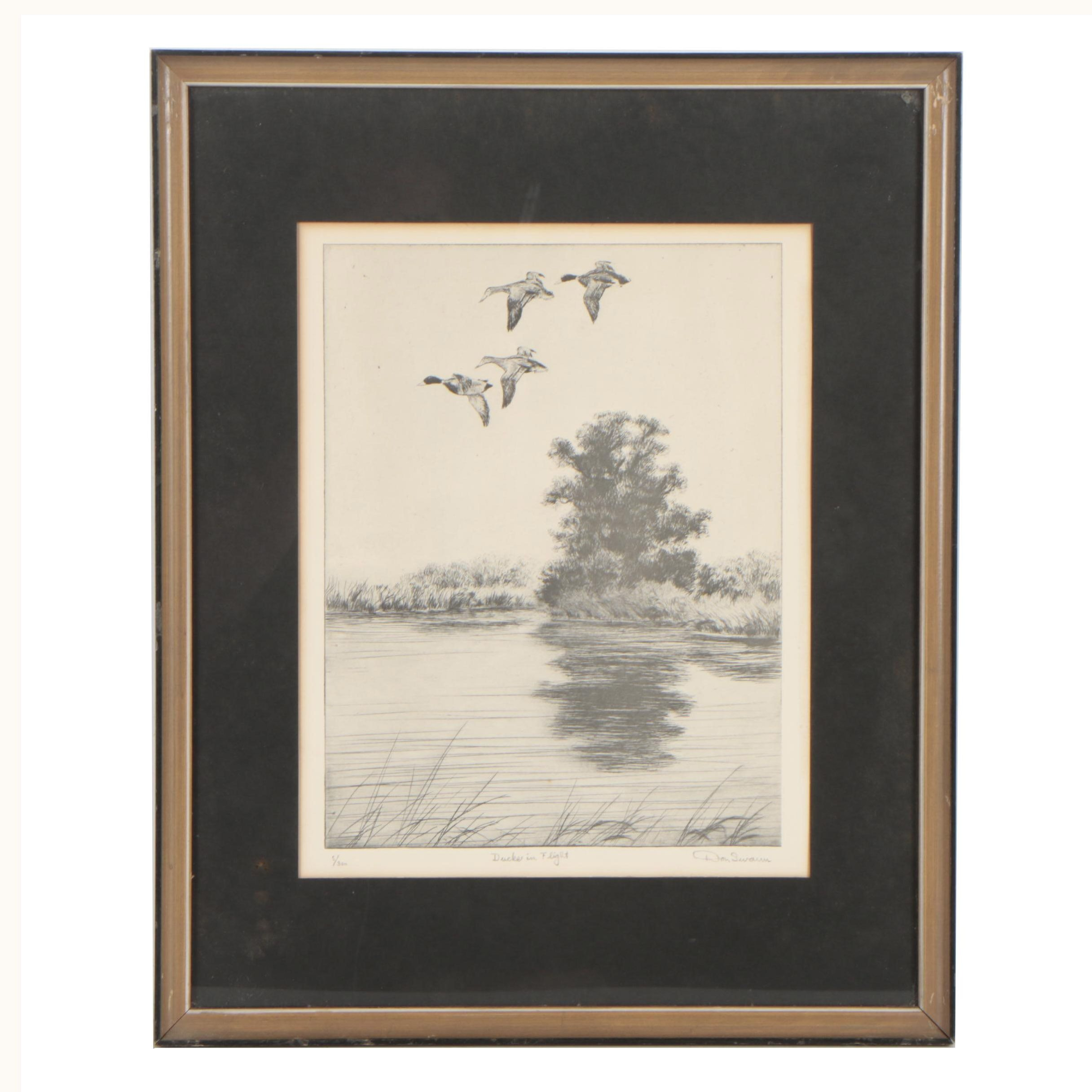 """Offset Lithograph after Don Swann """"Duck in Flight"""""""