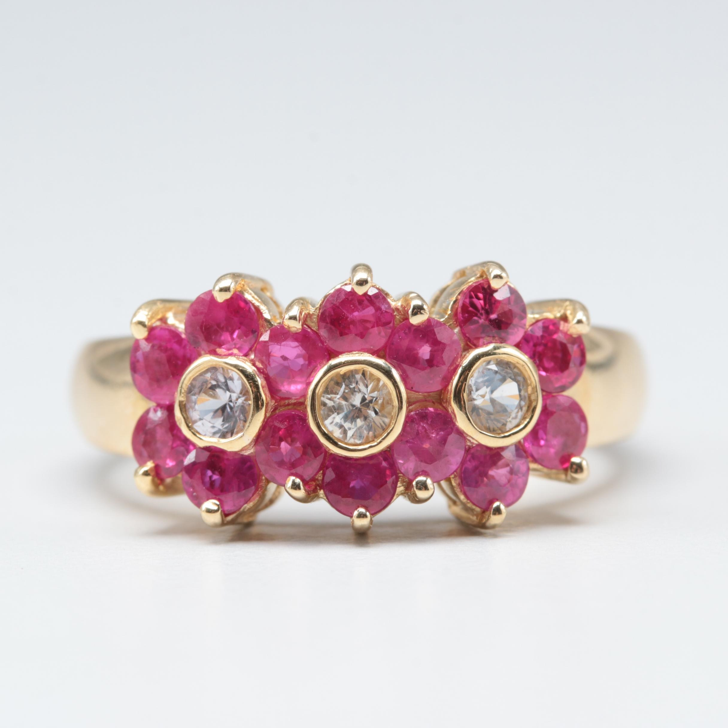 18K Yellow Gold White Sapphire and Ruby Ring