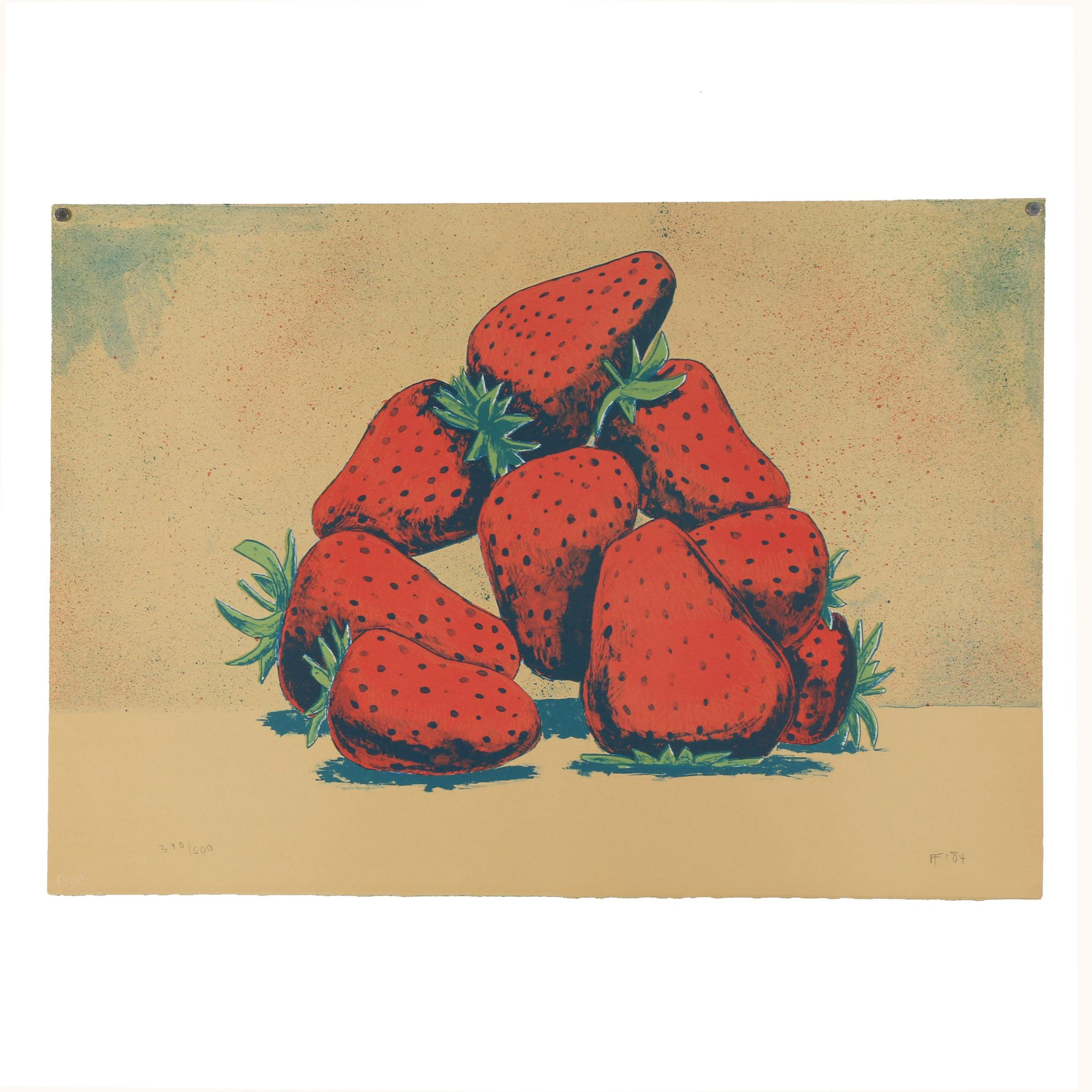 Aaron Fink 1984 Color Lithograph Depicting Strawberries