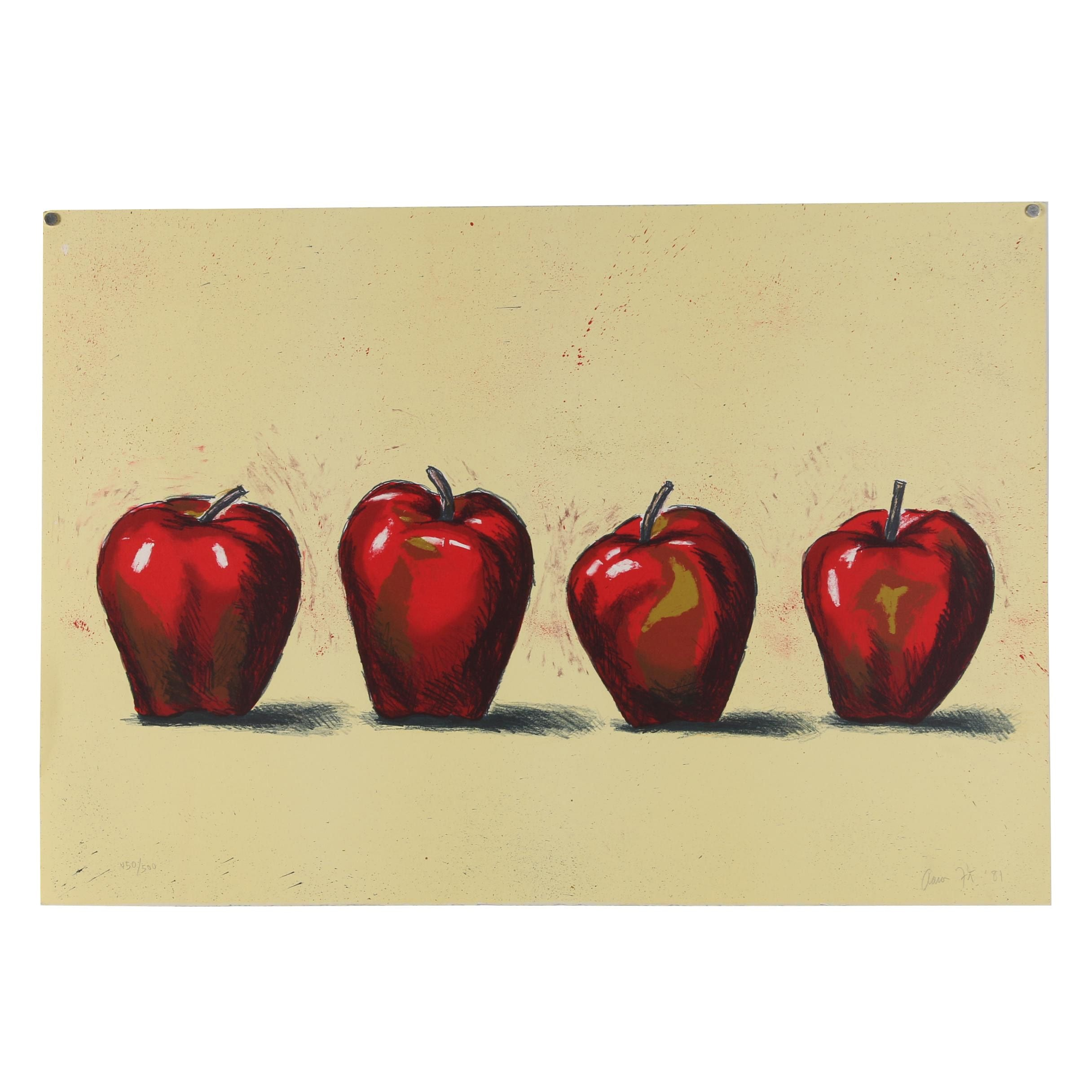 Aaron Fink 1981 Color Lithograph of Four Apples