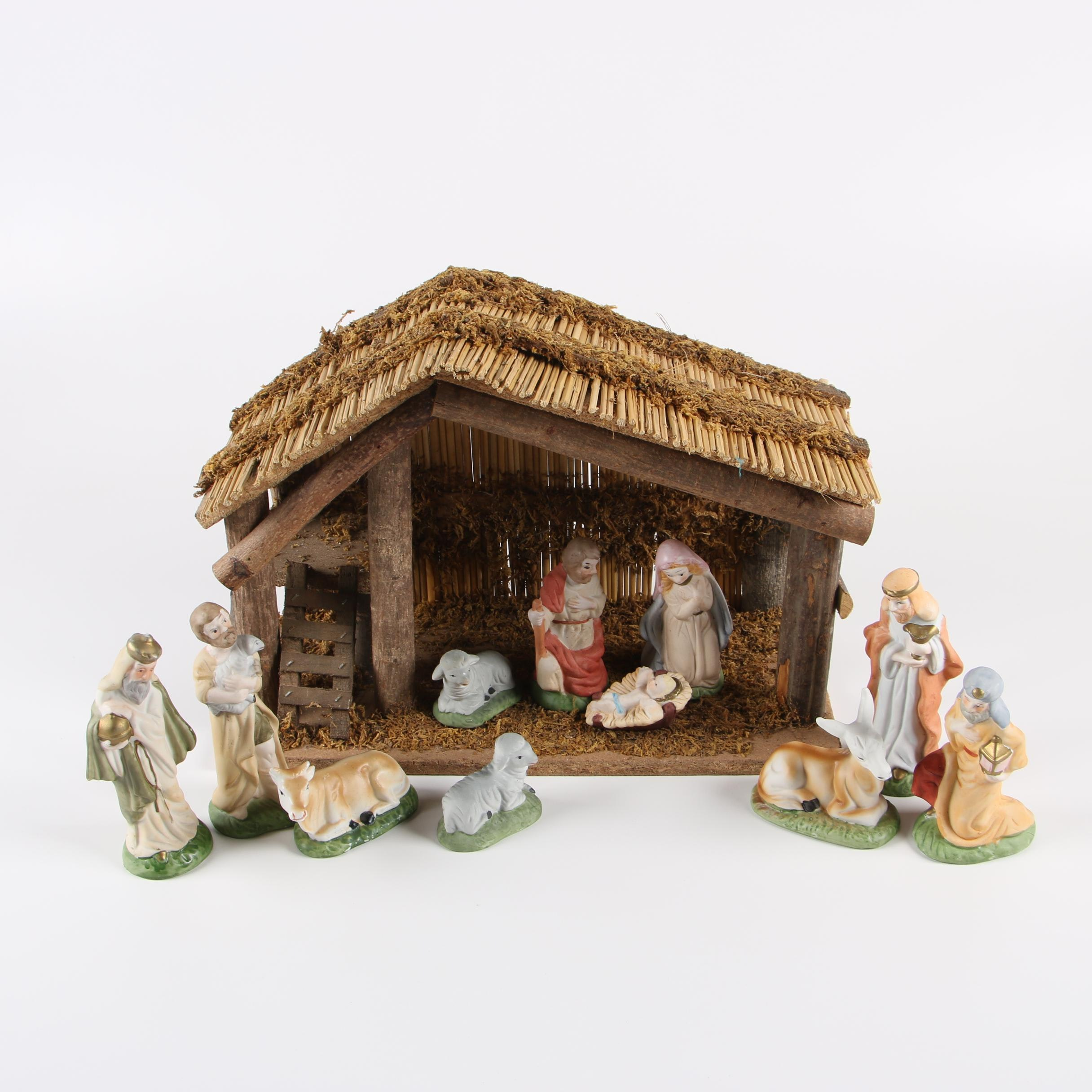 Ceramic Nativity Set with Wooden Stable