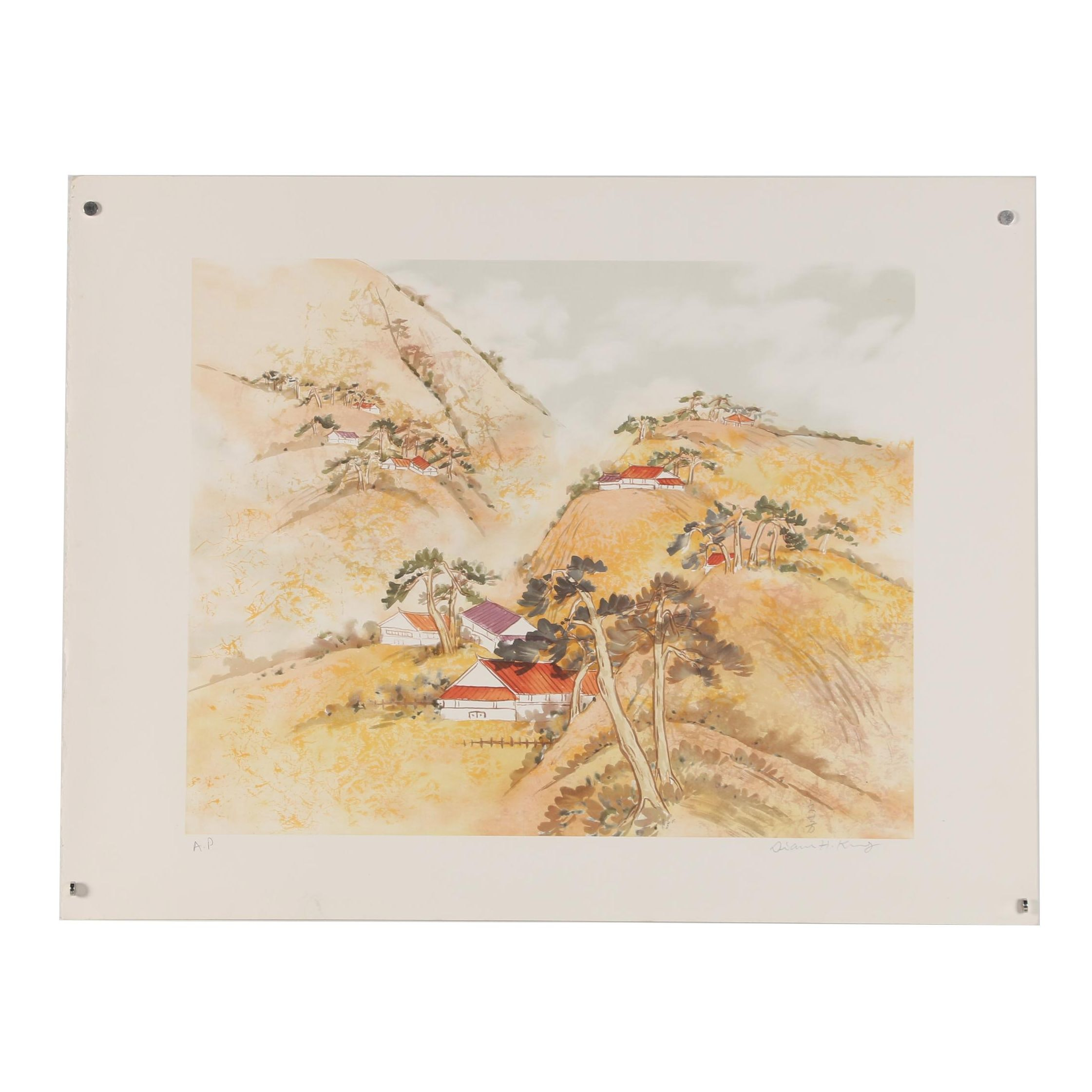 East Asian Style Color Lithograph