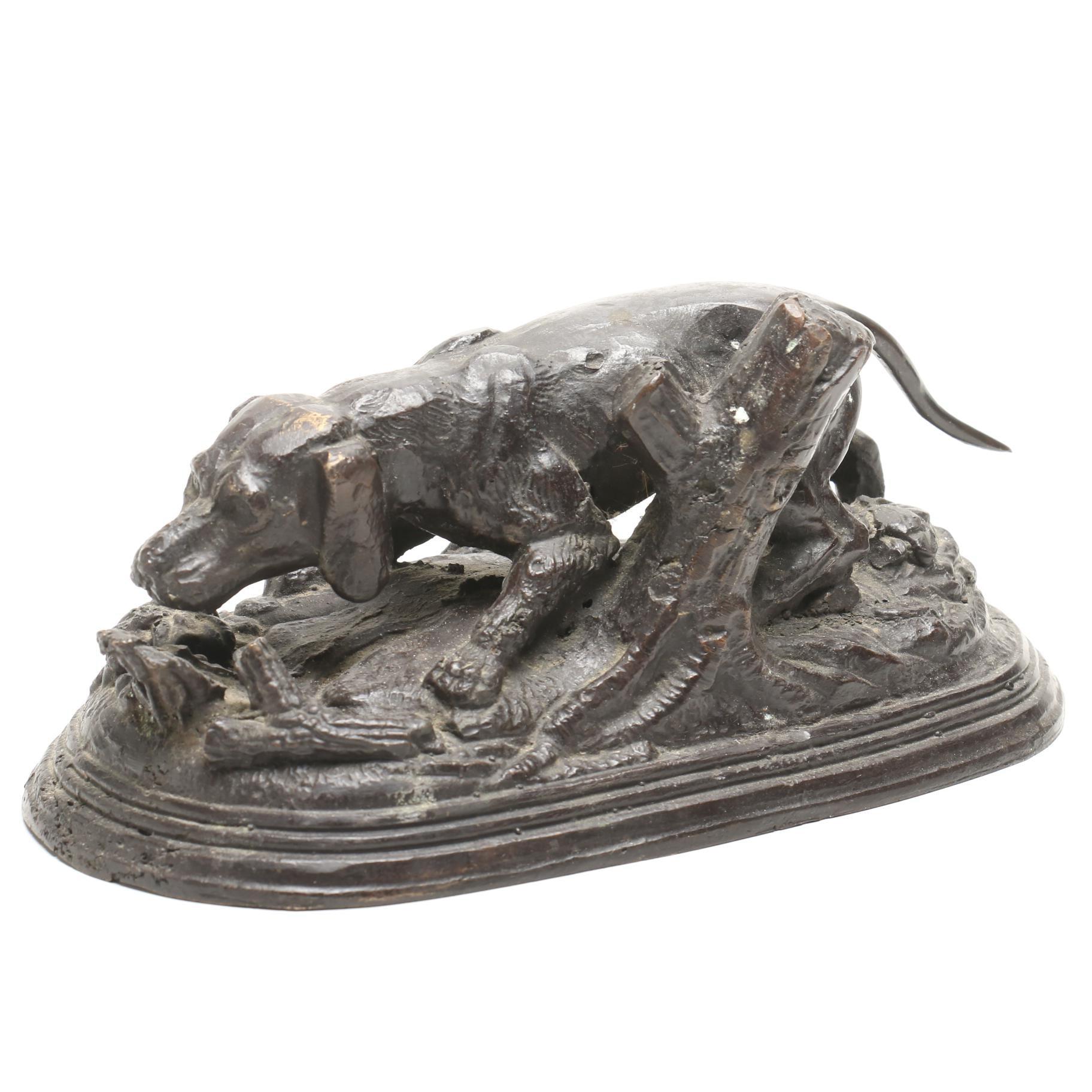 Cast Metal Hunting Dog Sculpture