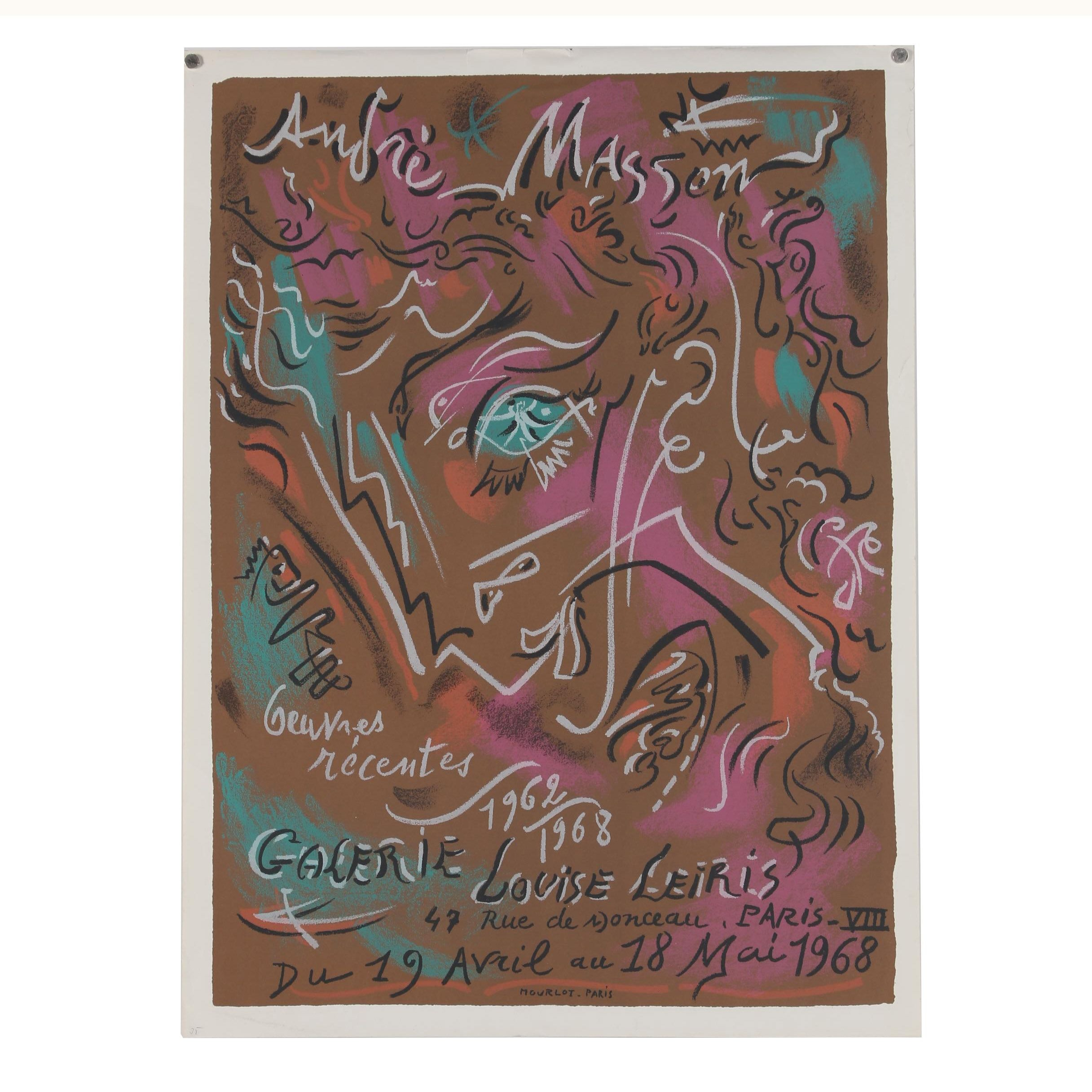 1968 Galerie Louise Leiris Color Lithograph Exhibition Poster after Andre Masson