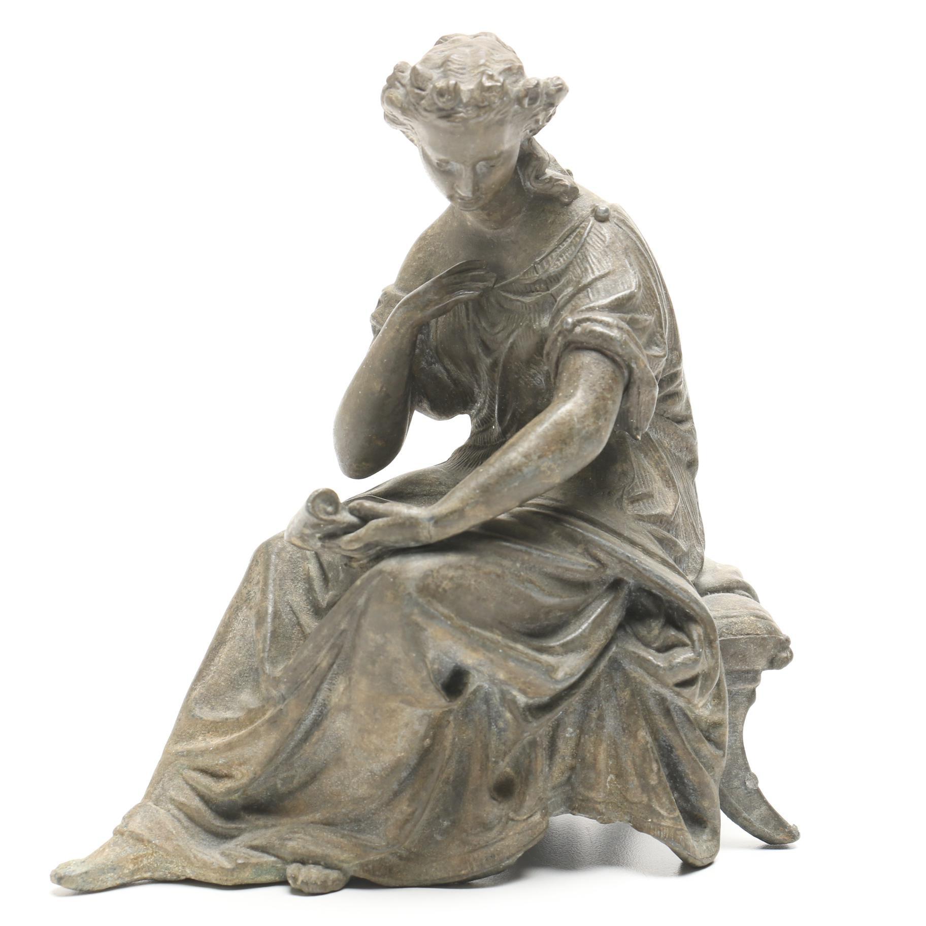 Late 19th Century Cast Metal Female Figural Clock Topper