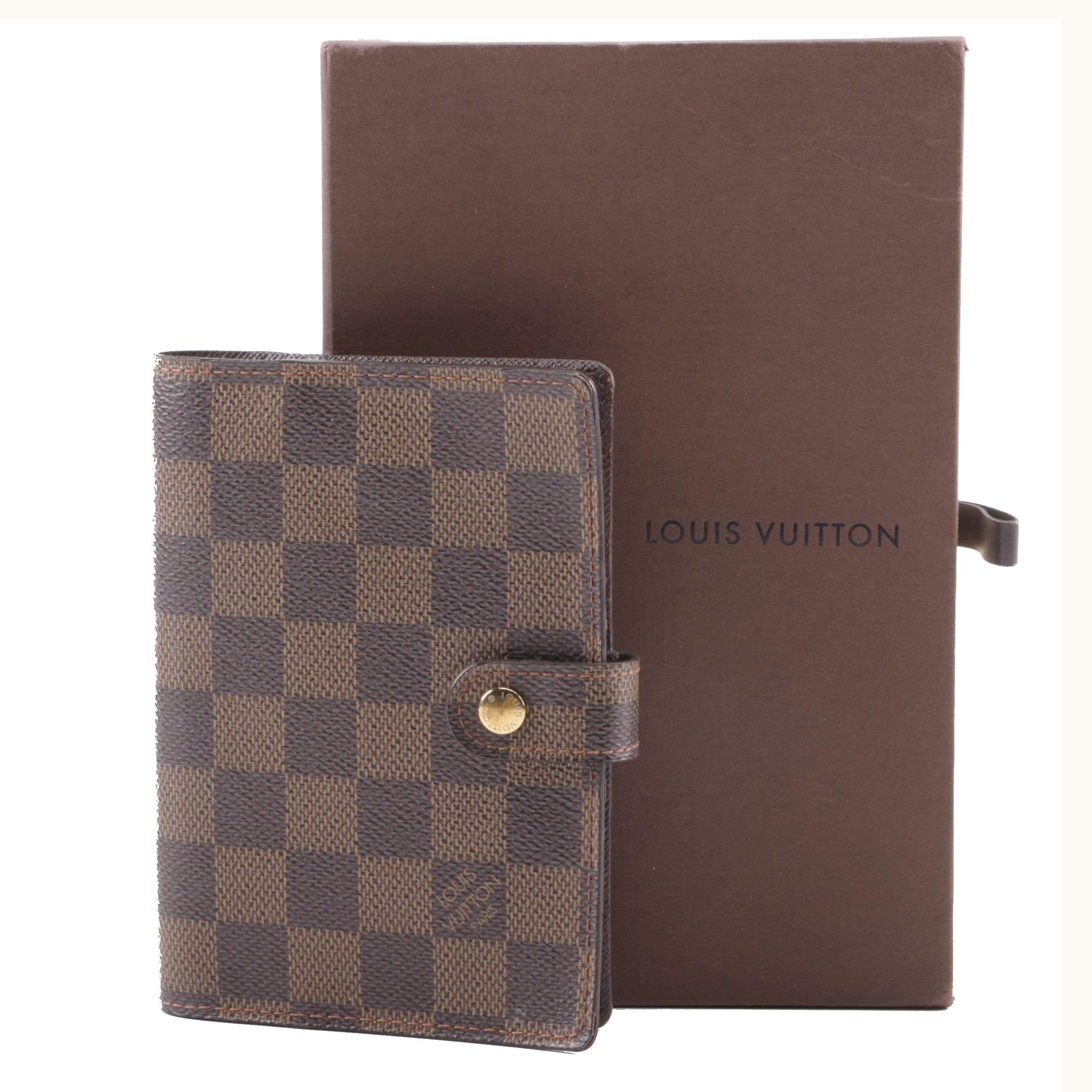 2005 Louis Vuitton Paris Damier Ebene Small Agenda Cover