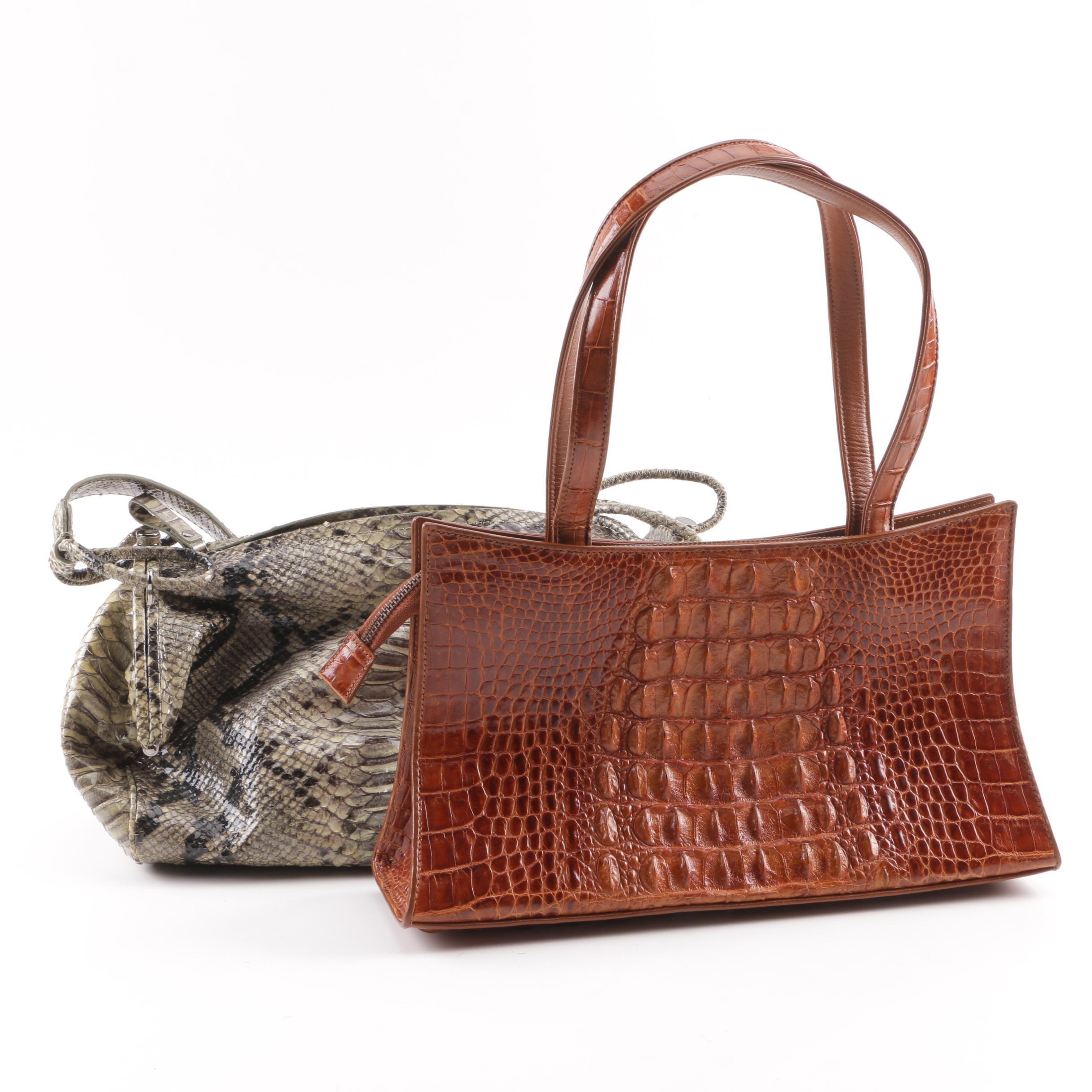 Sondra Roberts Python Skin and Ambassador Roberta Crocodile Skin Handbags