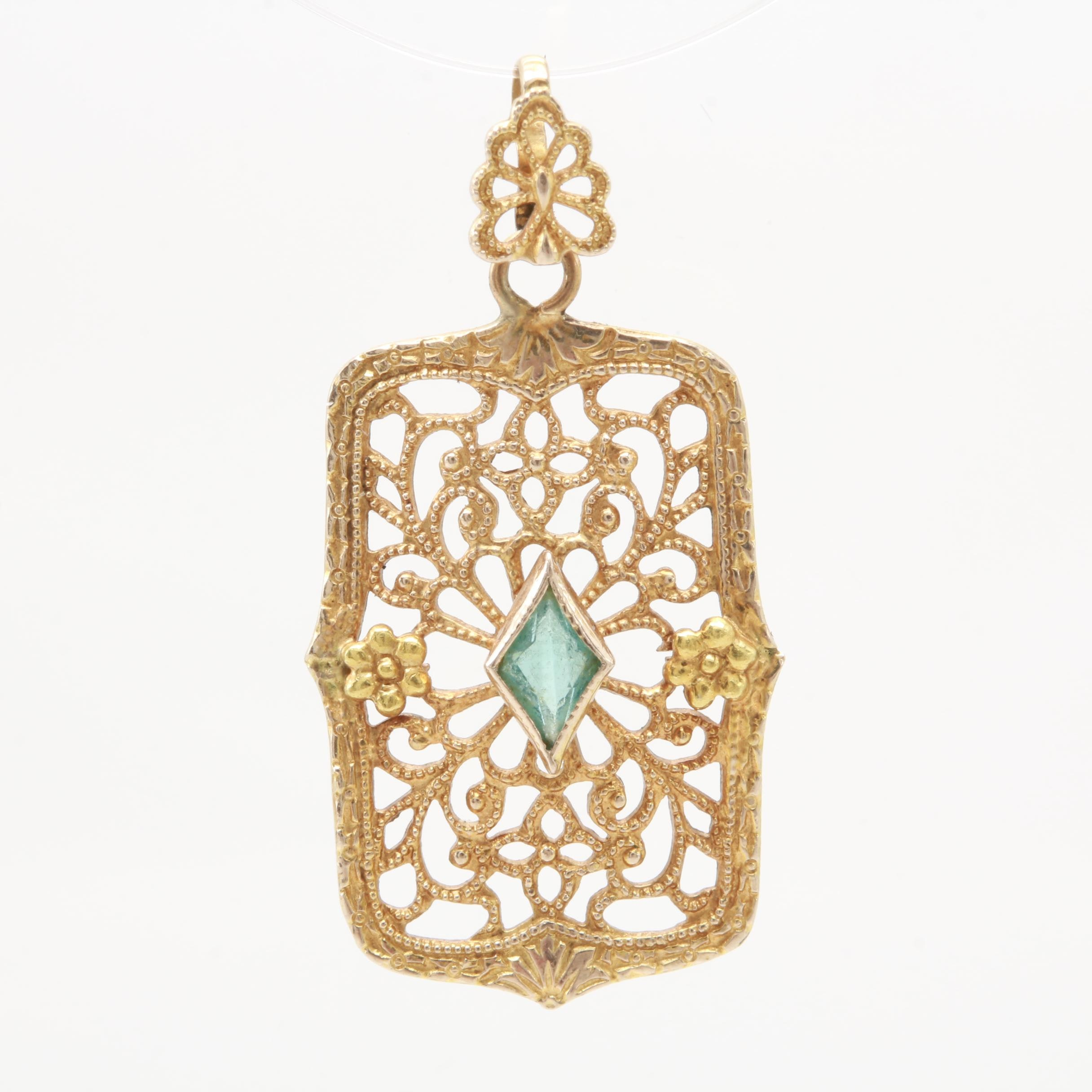 Vintage 10K Yellow Gold Glass Pendant with Filigree Openwork