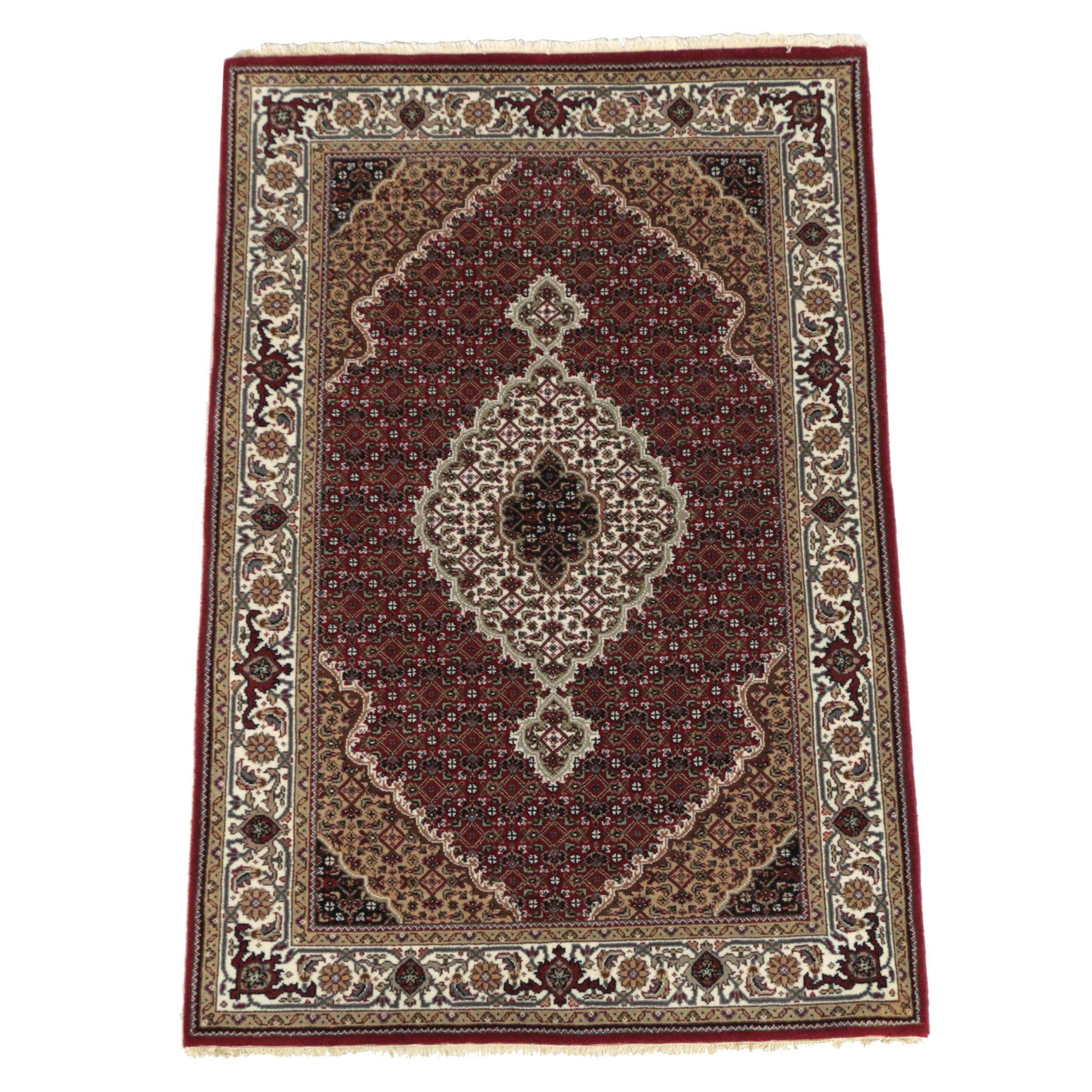 Hand-Knotted Indo-Persian Tabriz Wool Area Rug