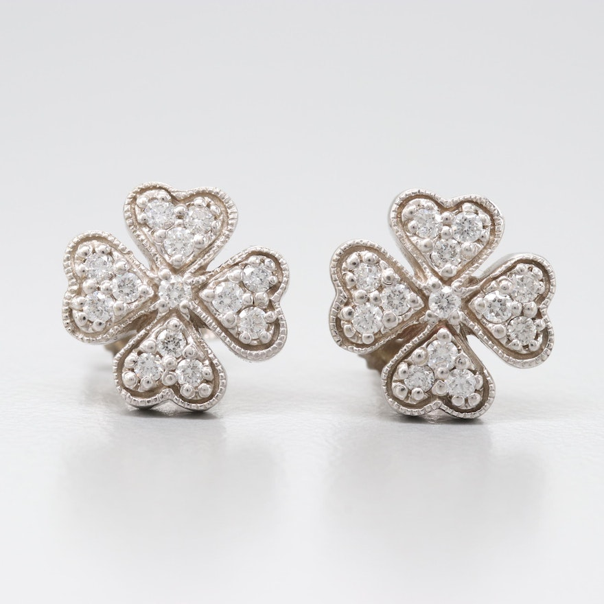 14k White Gold Diamond Clover Earrings