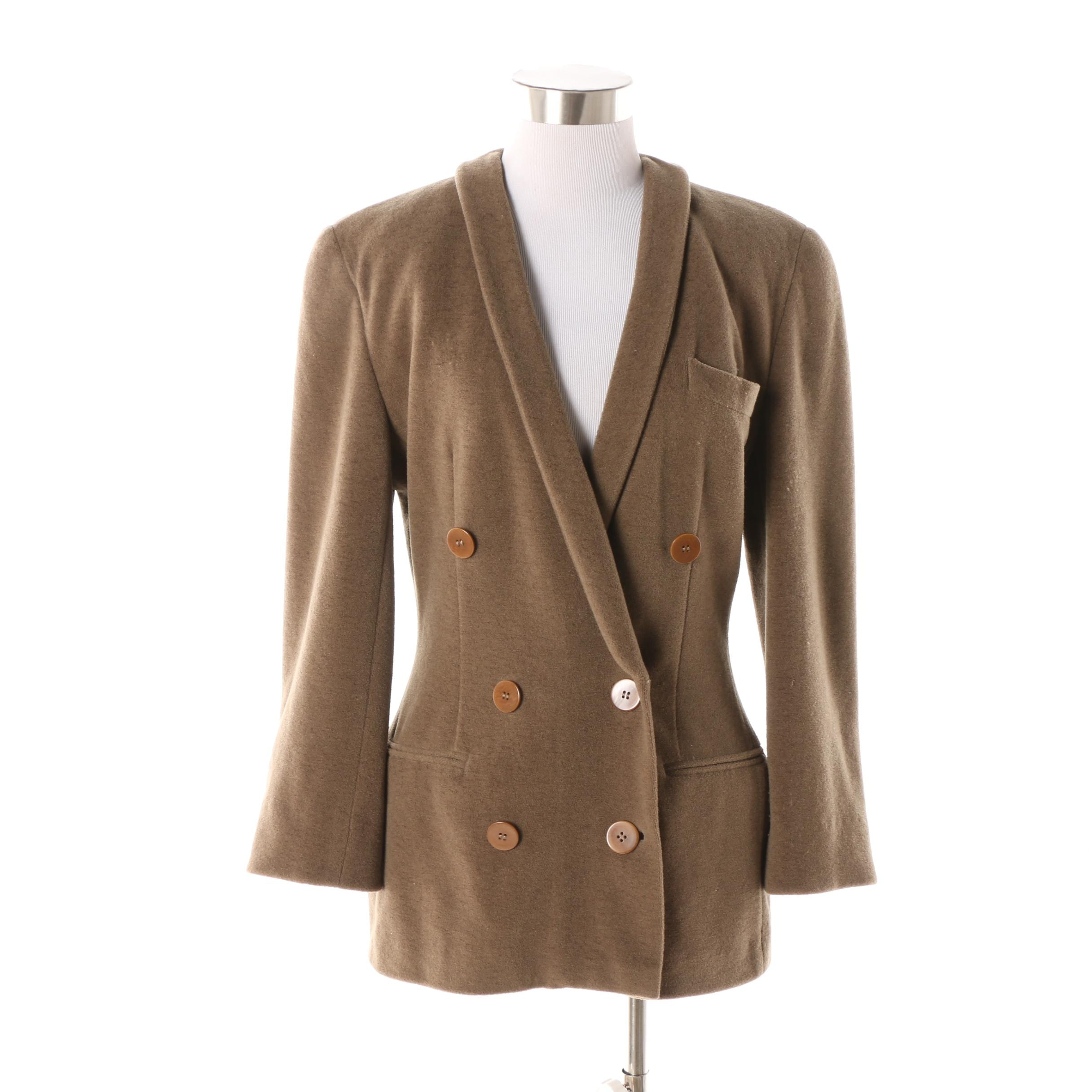 Circa 1990s Women's Giorgio Armani Double-Breasted Taupe Wool Jacket