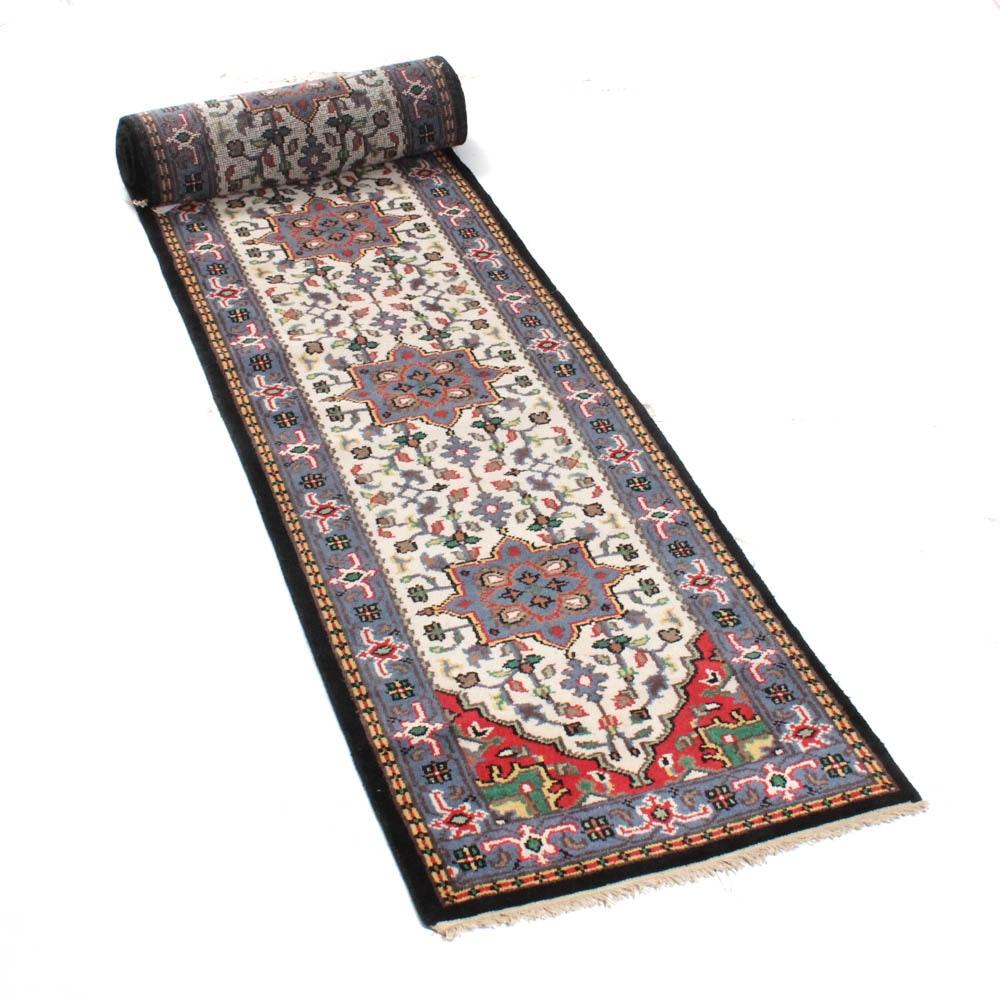 Hand-Knotted Indo-Persian Heriz Serapi Carpet Runner