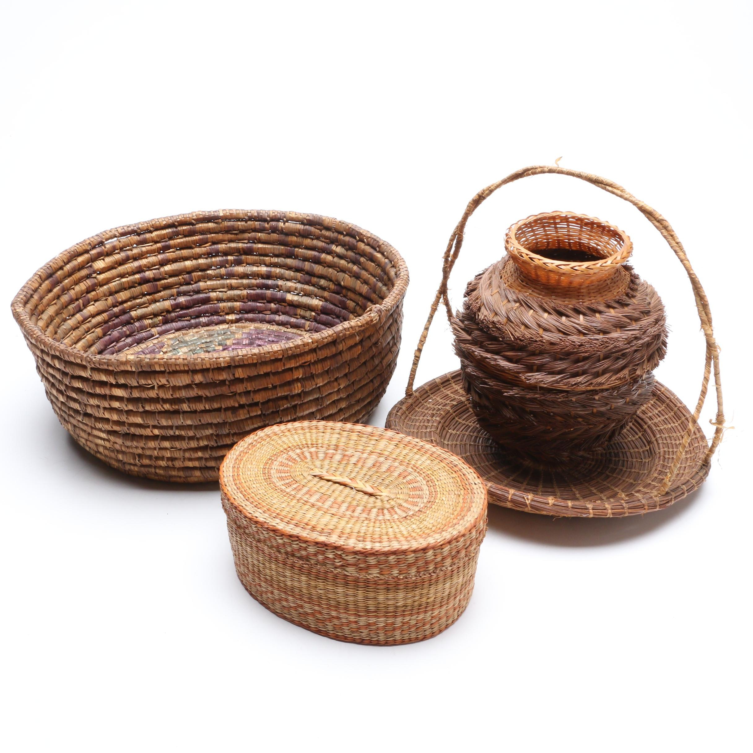 Native American Style Coil and Pine Needle Baskets with Lidded Oval Basket