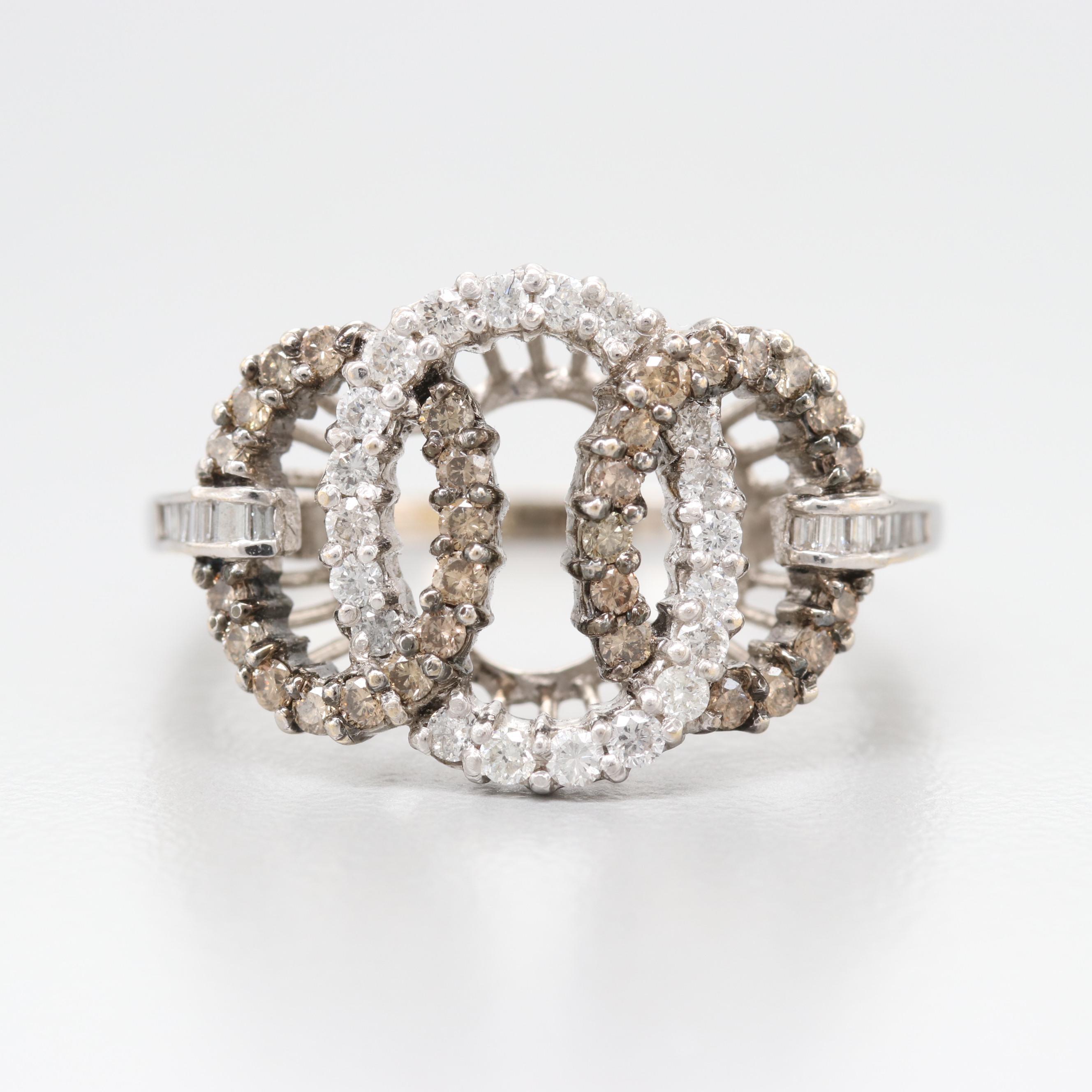 18K White Gold Diamond Geometric Band with Brown Diamonds