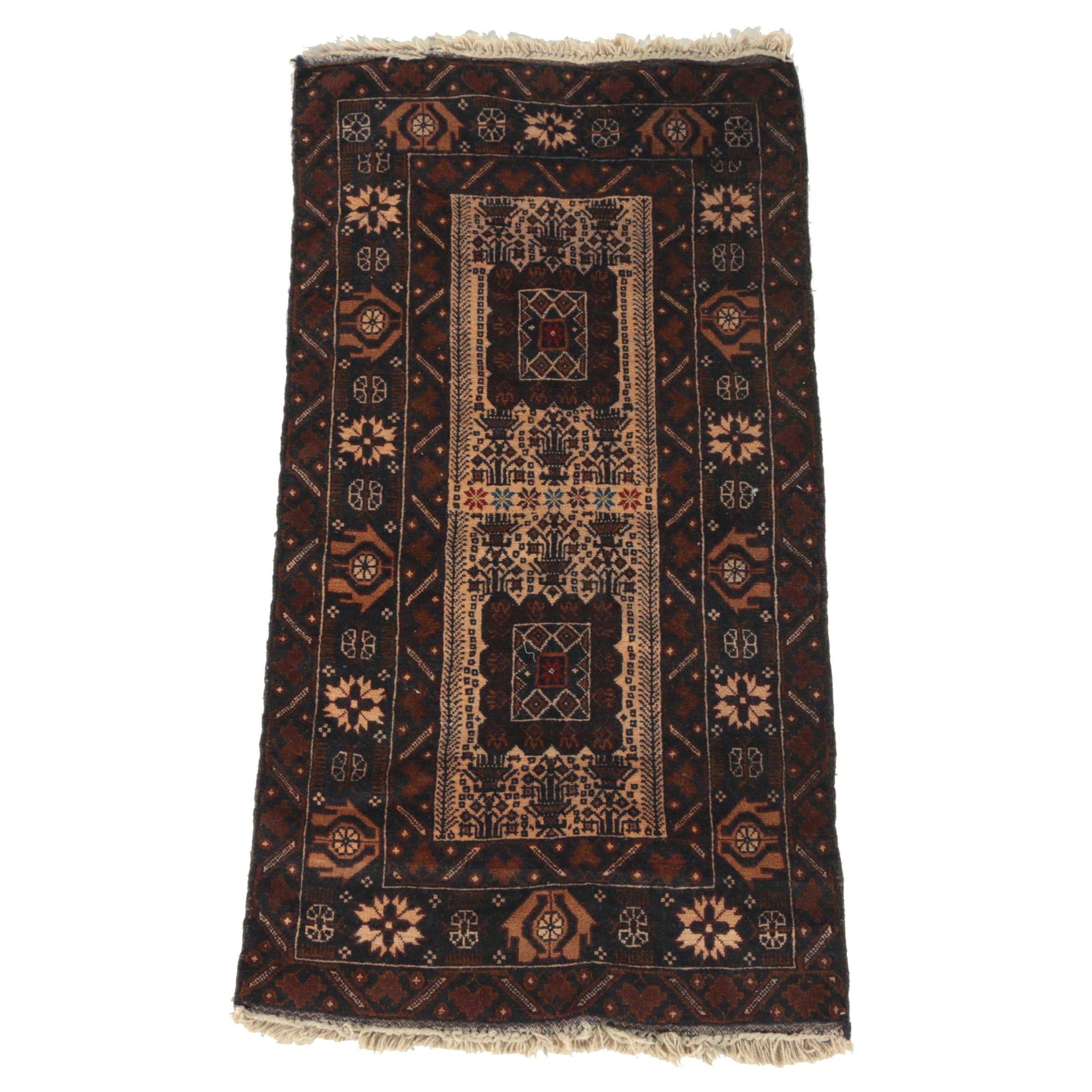 Semi-Antique Hand-Knotted Persian Baluch Wool Rug