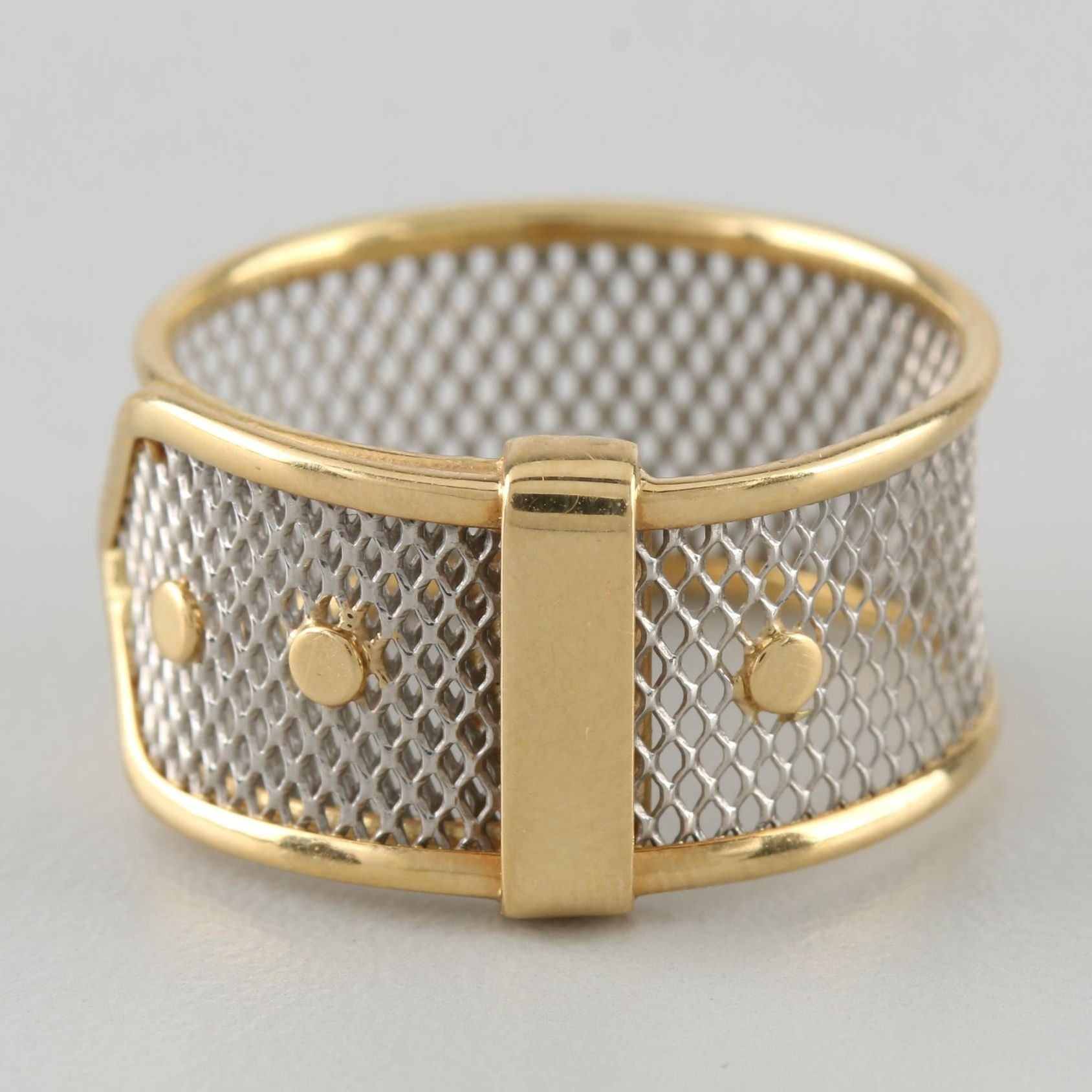 18K Yellow Gold and Platinum Two-Tone Mesh Buckle Ring