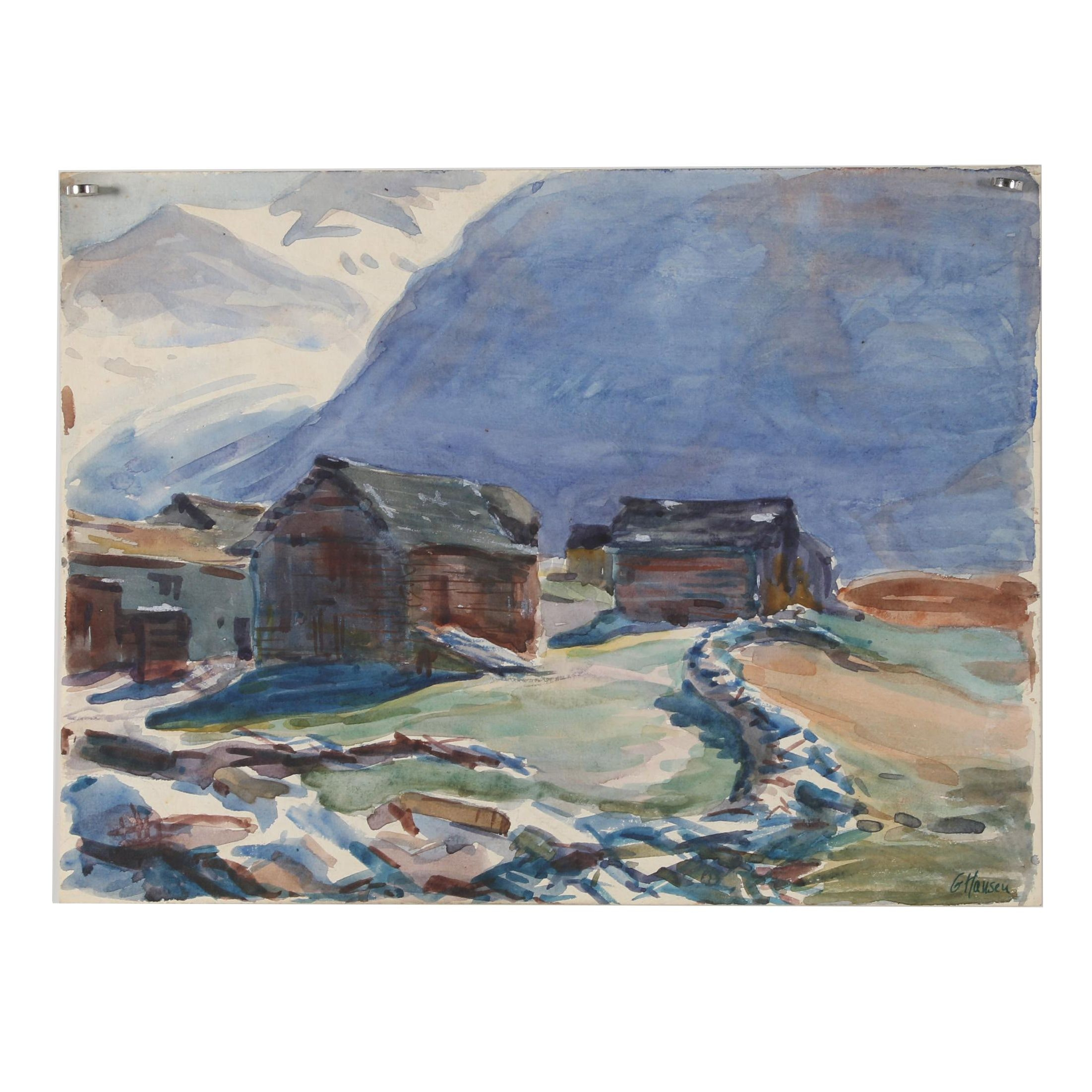 Gordon Hansen Watercolor Painting of Mountain Village