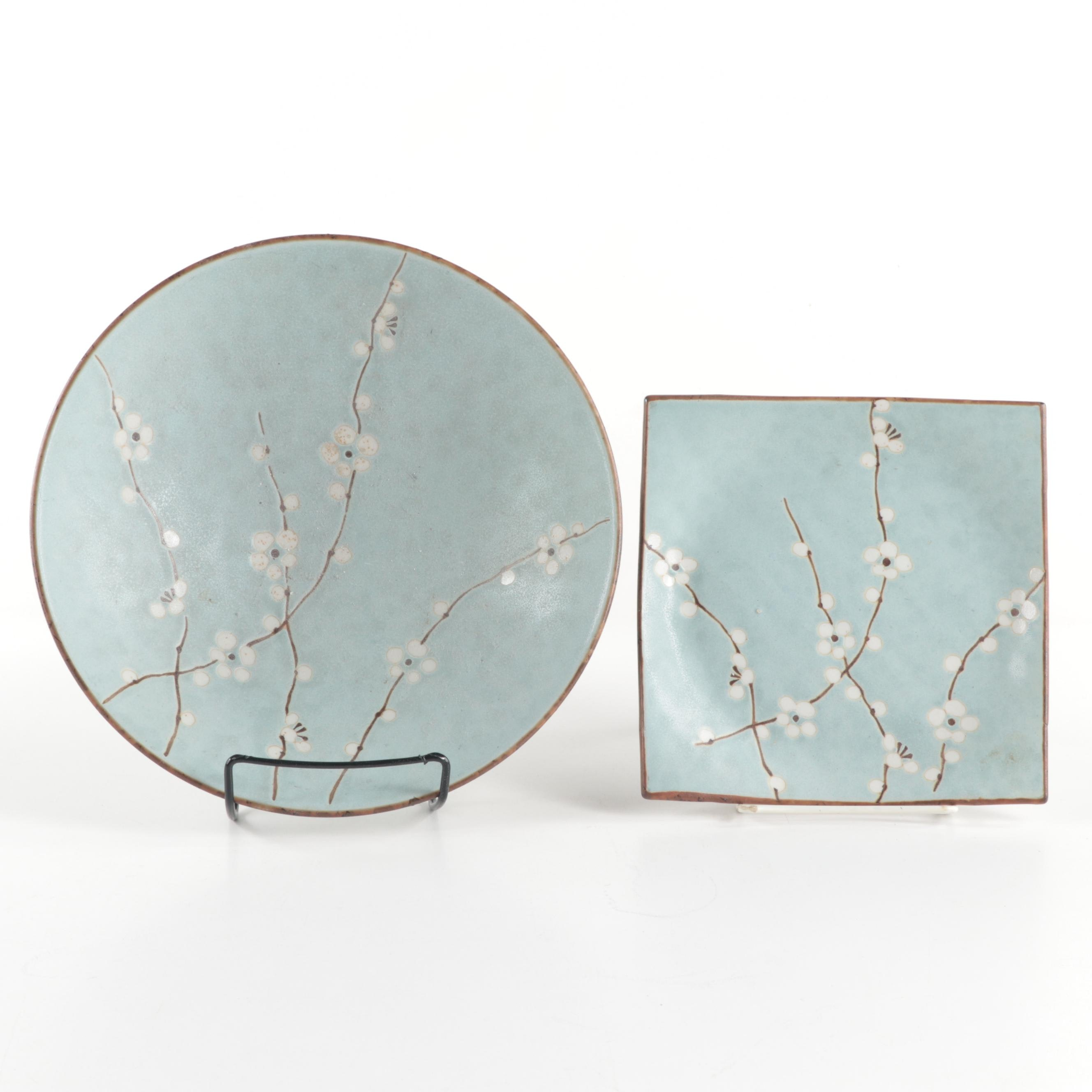Japanese Cherry Blossom Porcelain Bowl and Plate