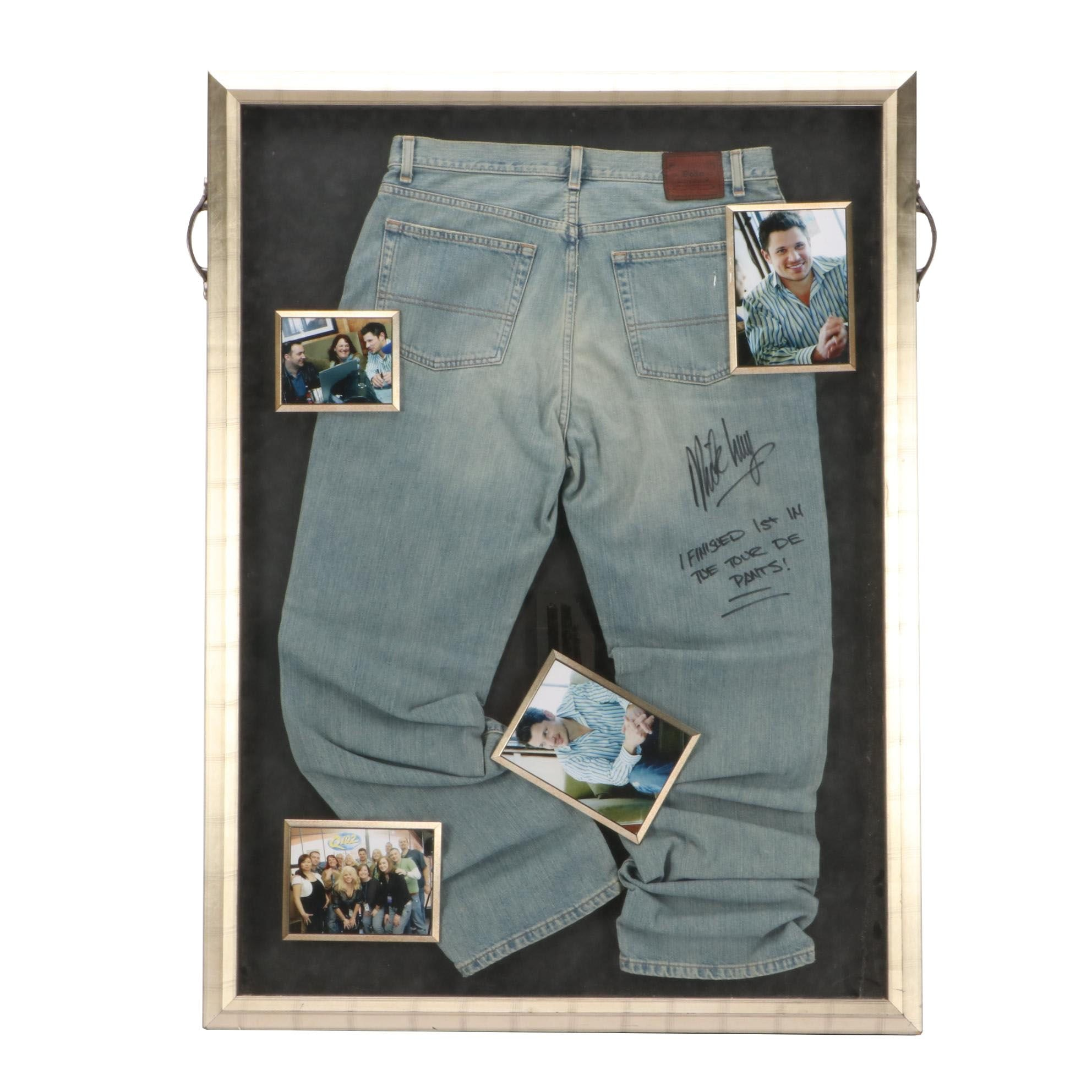 Nick Lachey Signed Worn Jeans Framed Display COA
