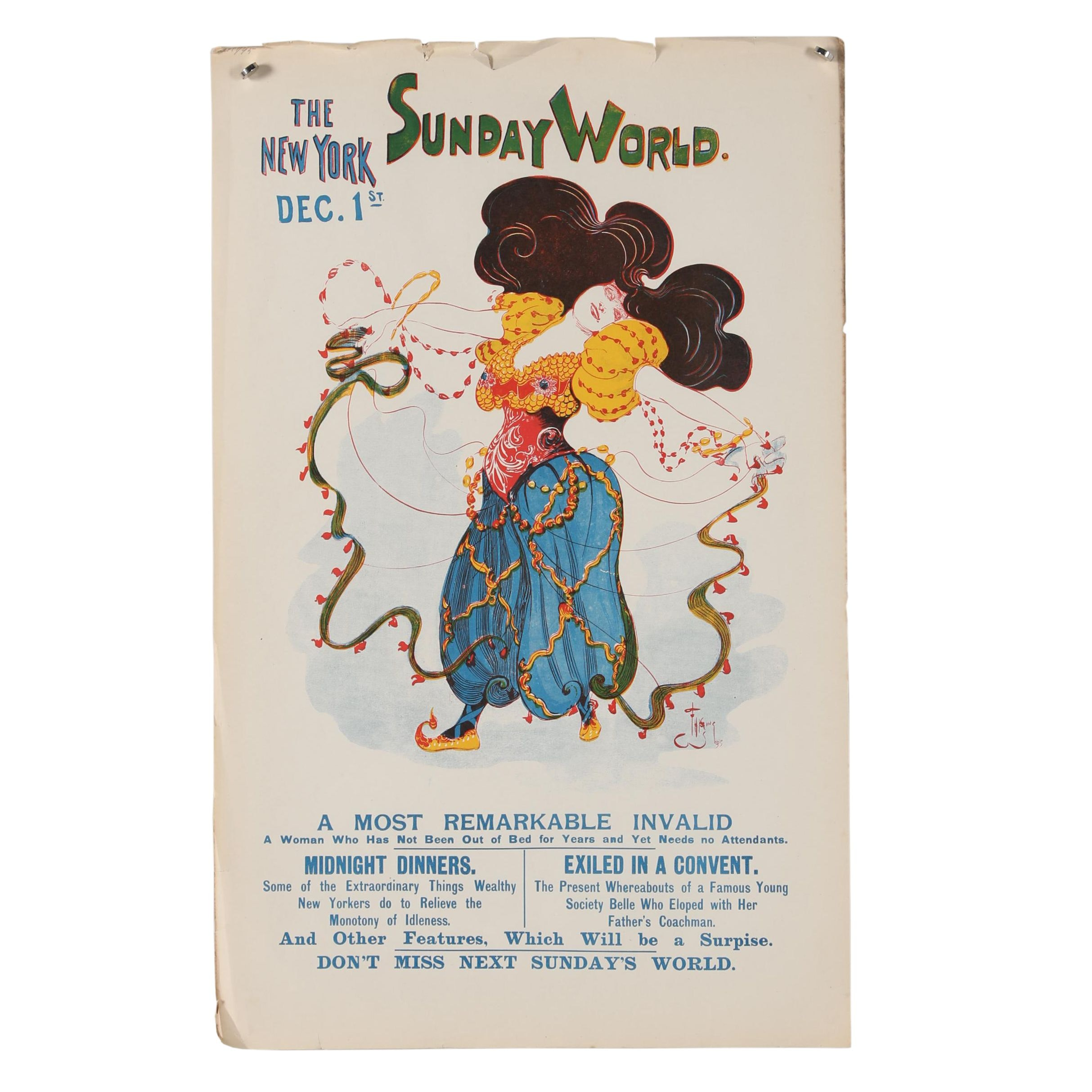 """1895 Color Lithograph """"The Sunday World"""""""