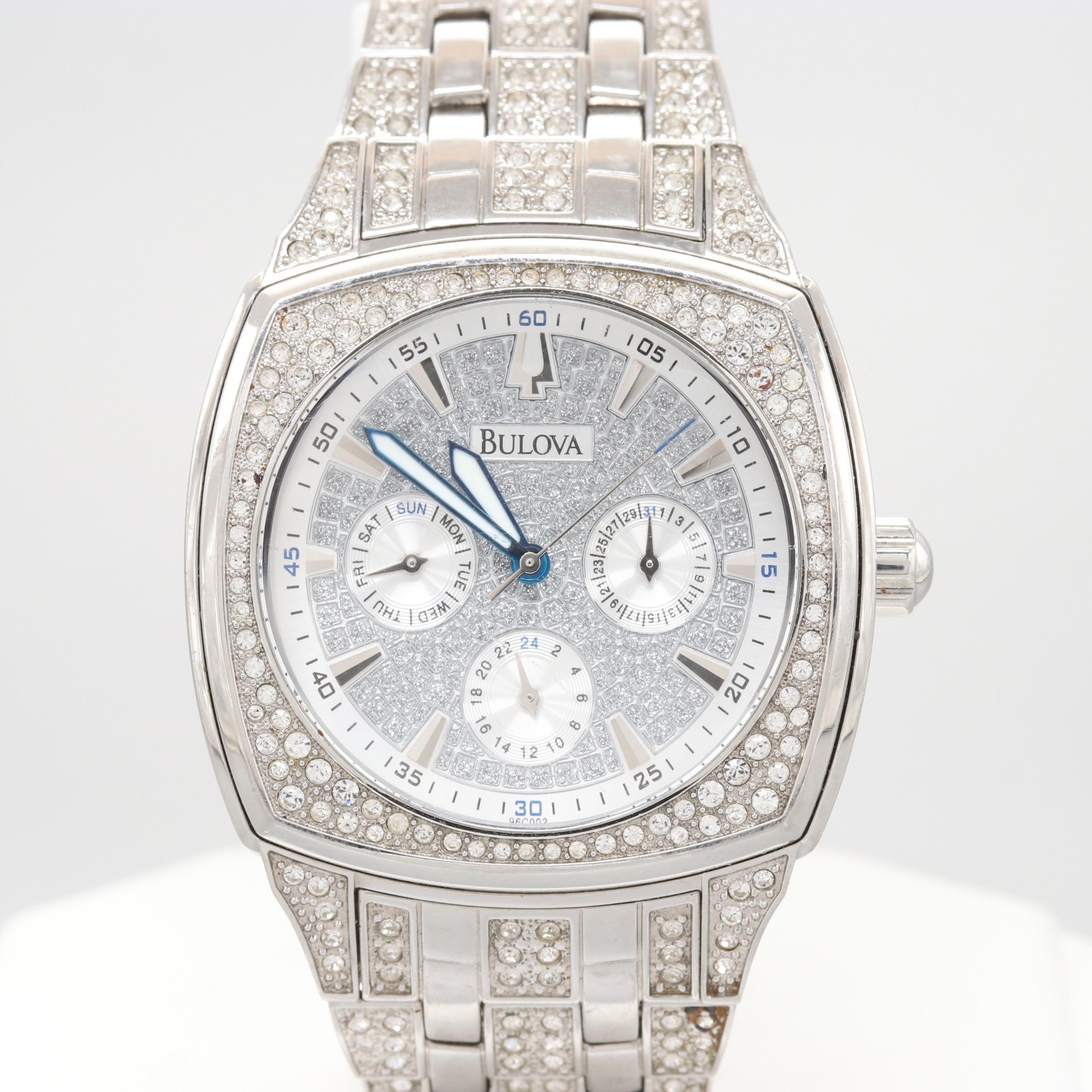 Bulova Stainless Steel Swarovski Crystal Wristwatch