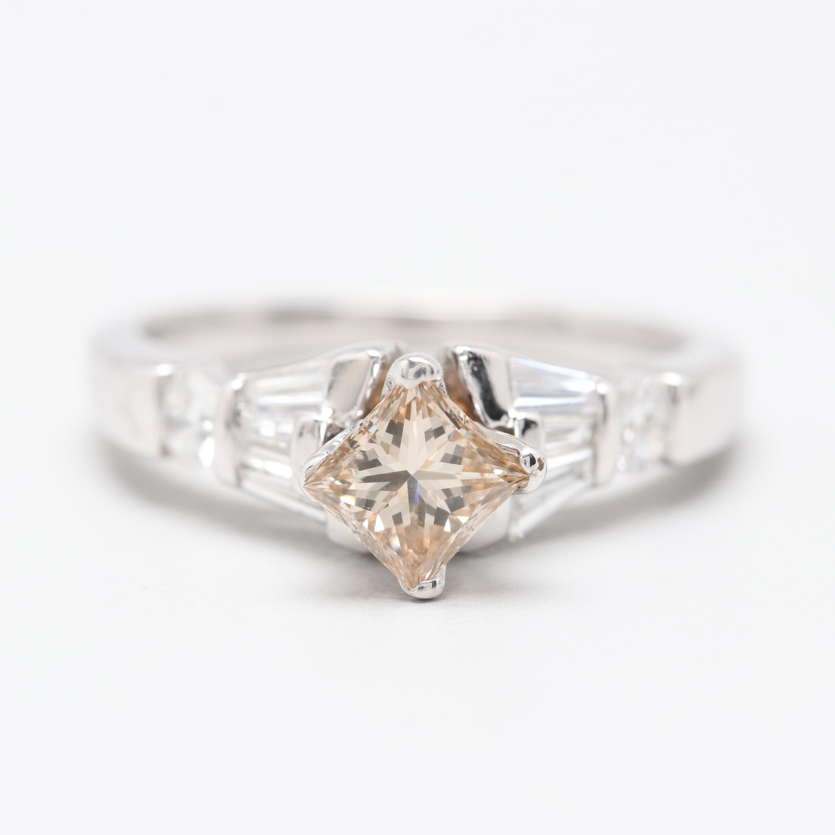 Platinum and 10K White Gold Diamond Ring