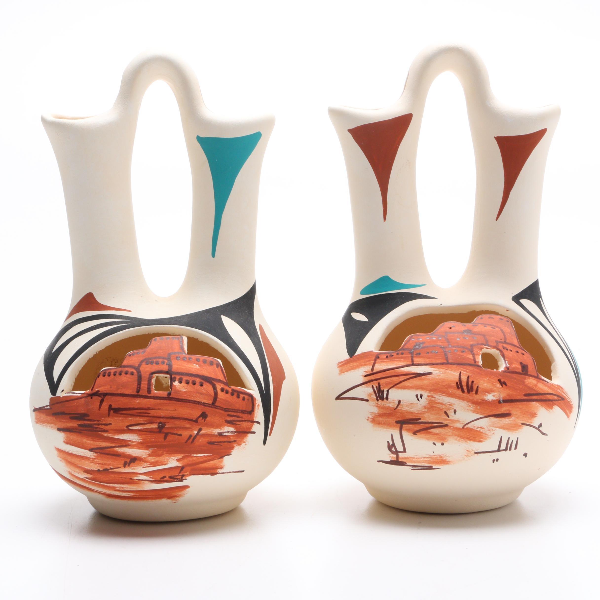 Jemez Pueblo Wedding Vases Signed by Native American Artist L. Toya