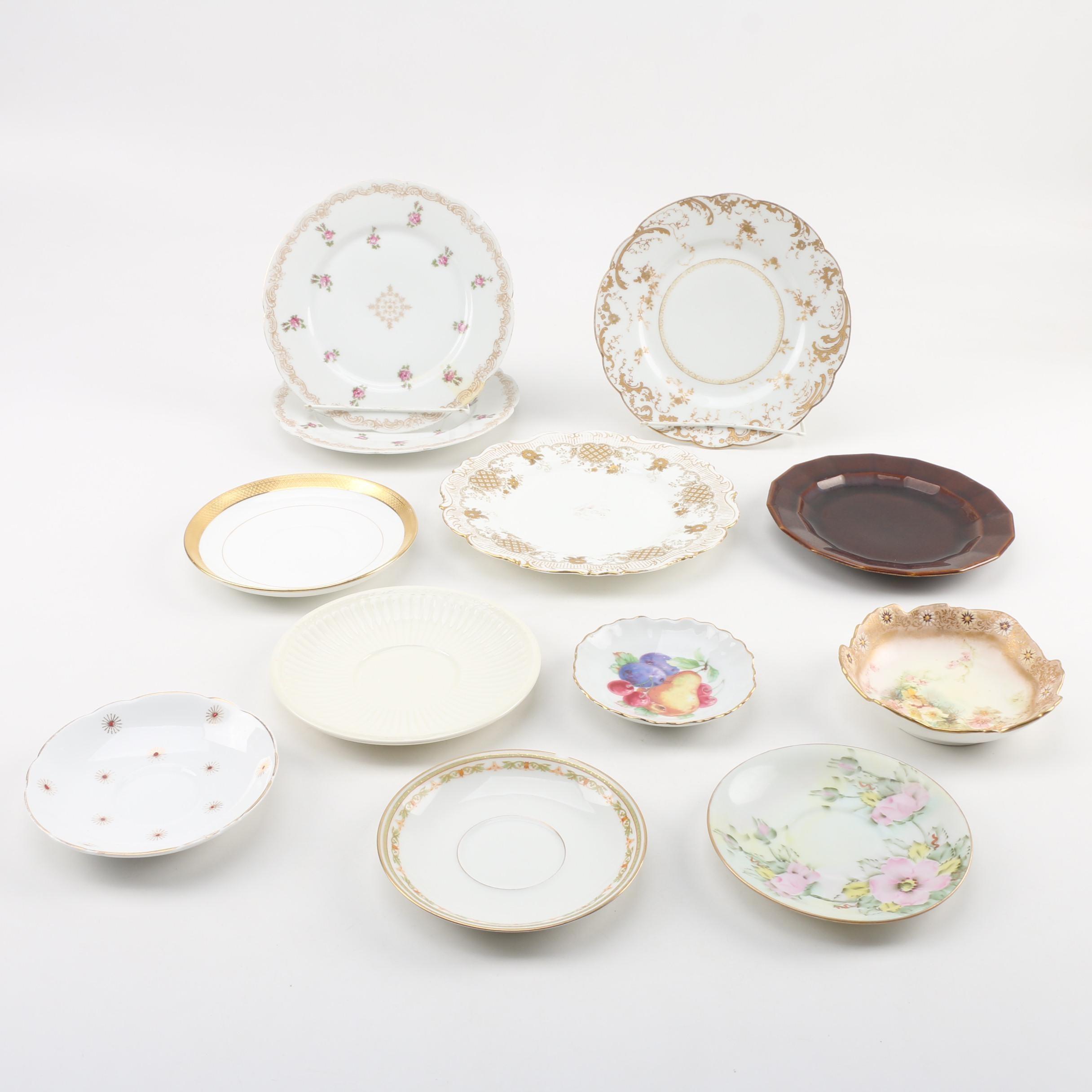 Vintage Porcelain and Earthenware Plates featuring Haviland Limoges