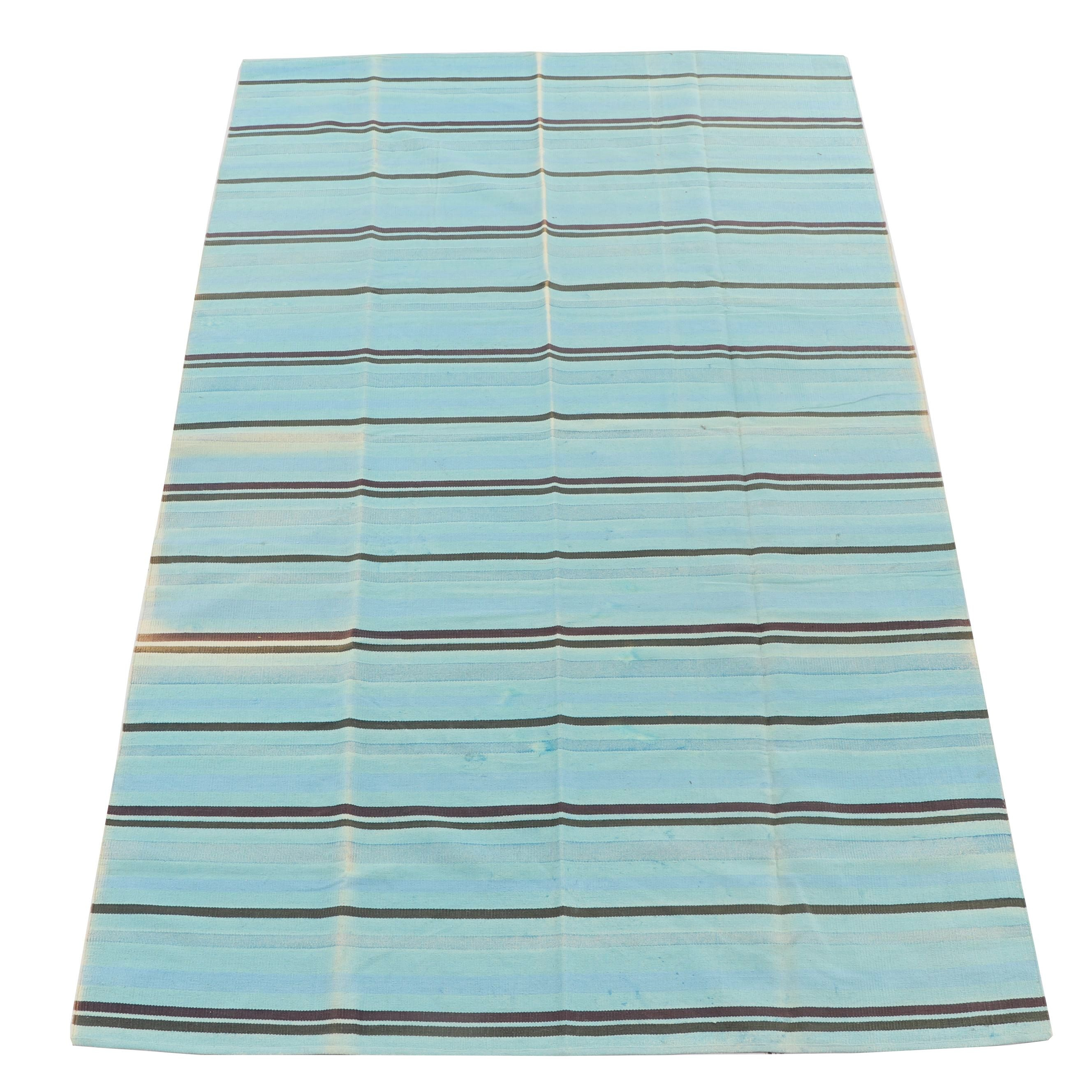 Handwoven Indian Striped Wool Dhurrie