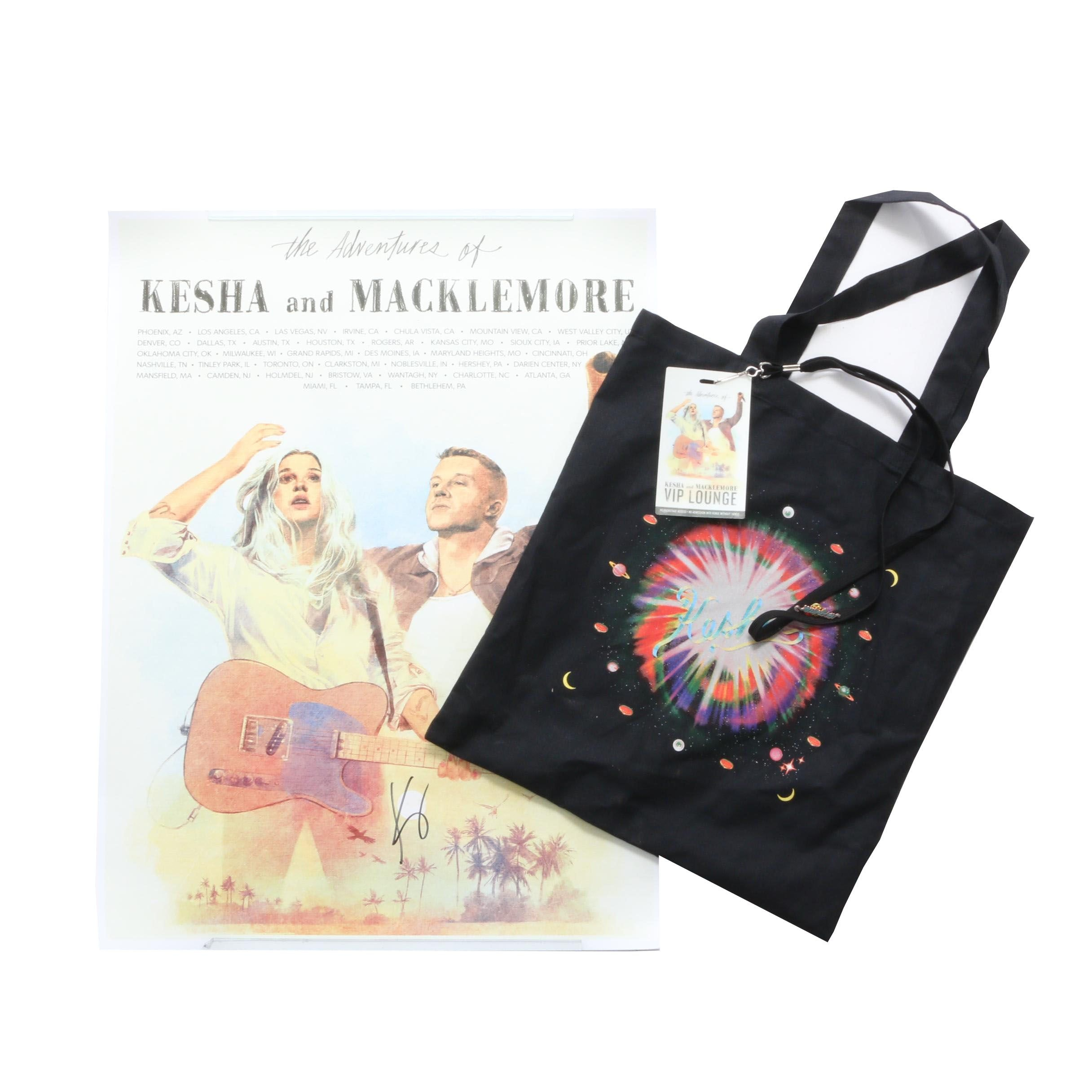 Kesha Autographed Concert Poster and Black Cotton Bag
