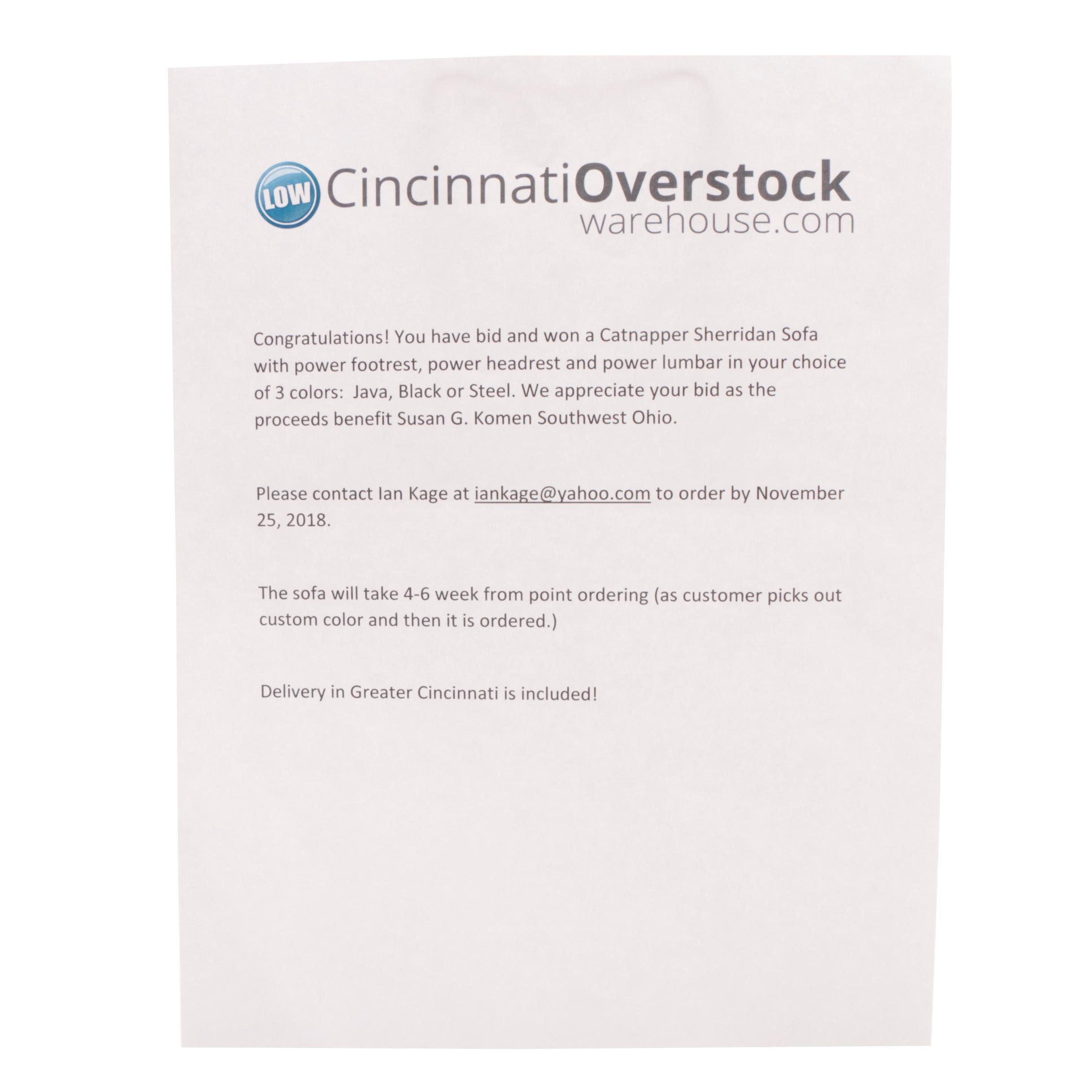 Catnapper Sherridan Sofa from Cincinnati Overstock - Certificate