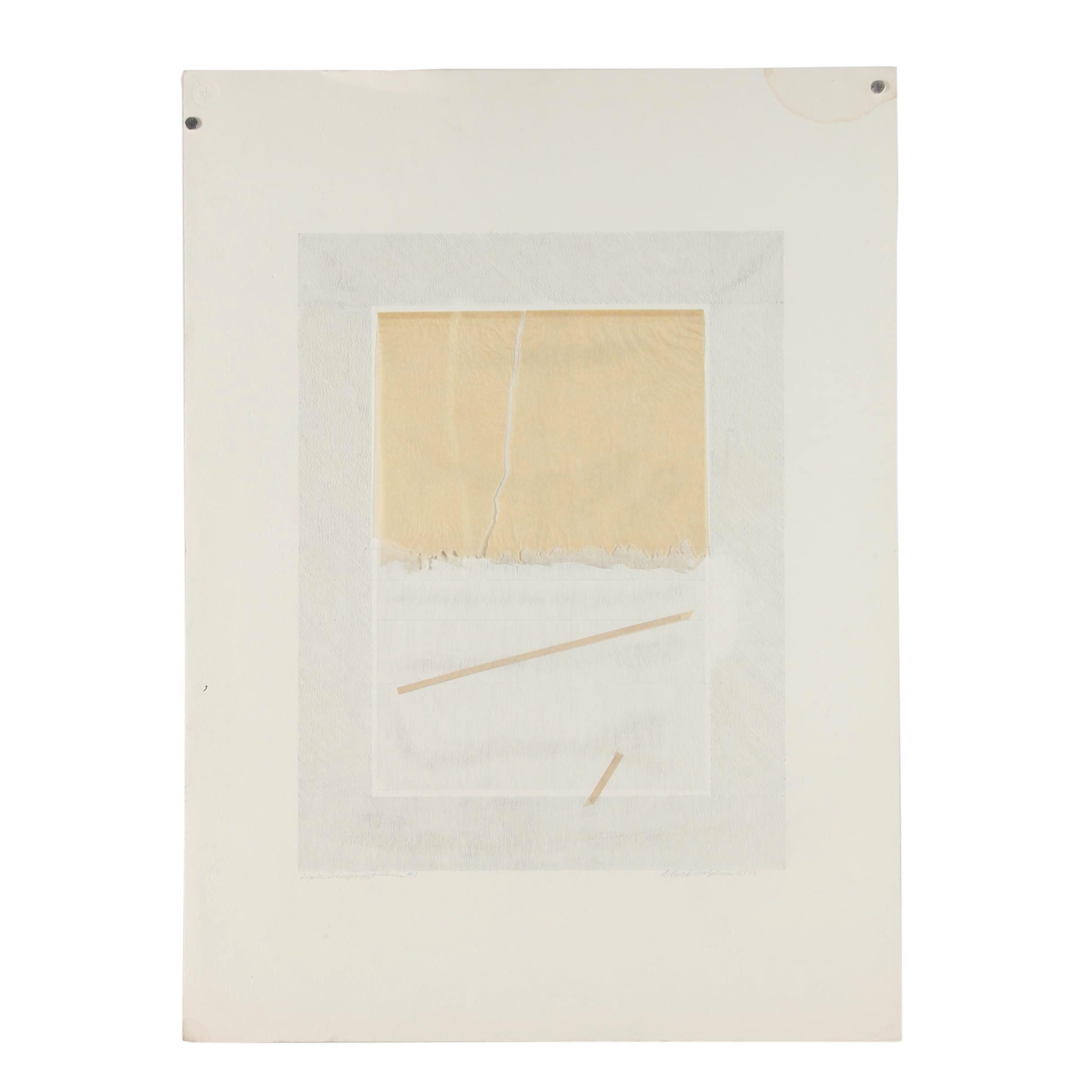 "Sylvia Birch Halperin 1979 Mixed Media Drawing ""Triple Transparent Series #1"""