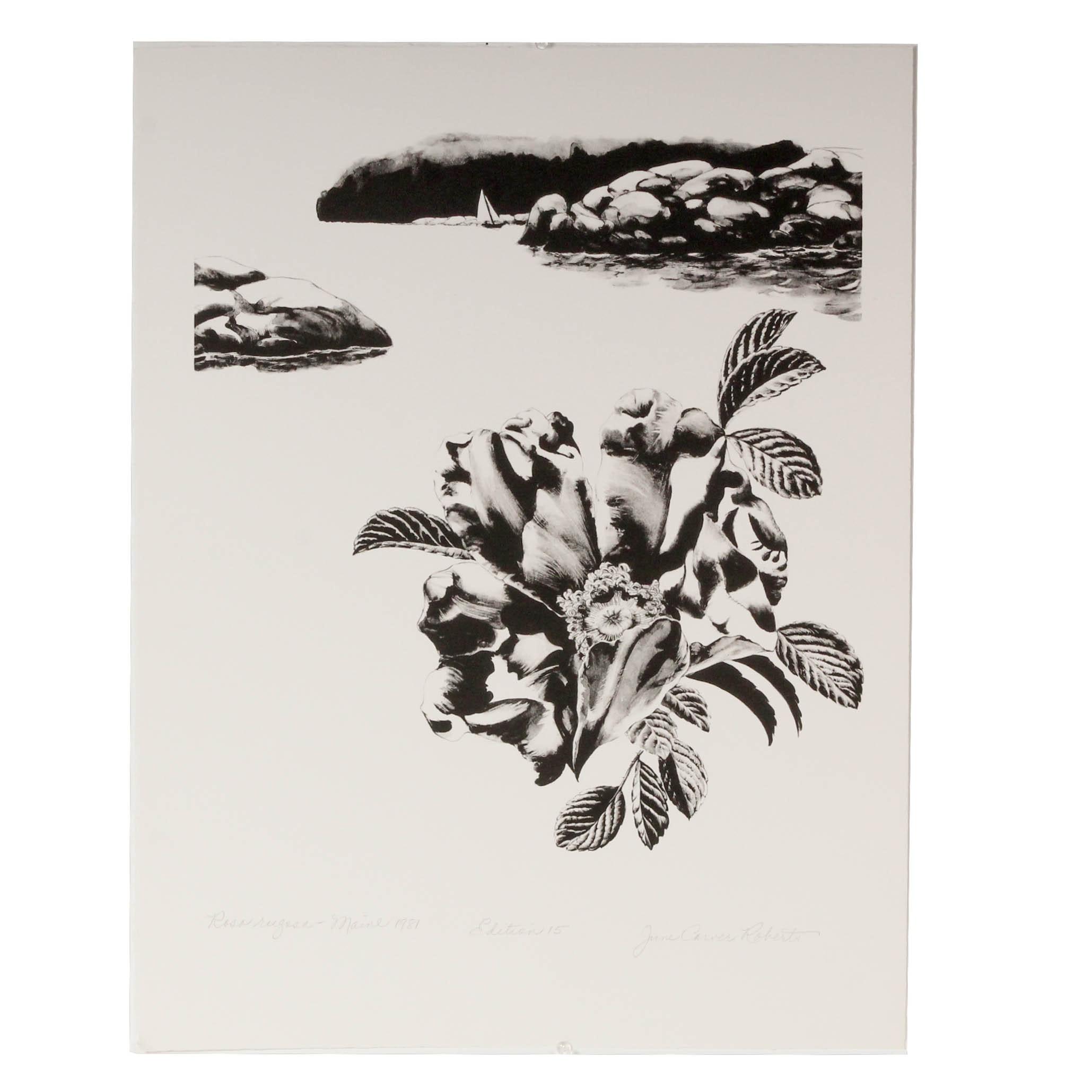 """June Carver Roberts Serigraph """"Rosa Rugosa - Maine 1981"""""""