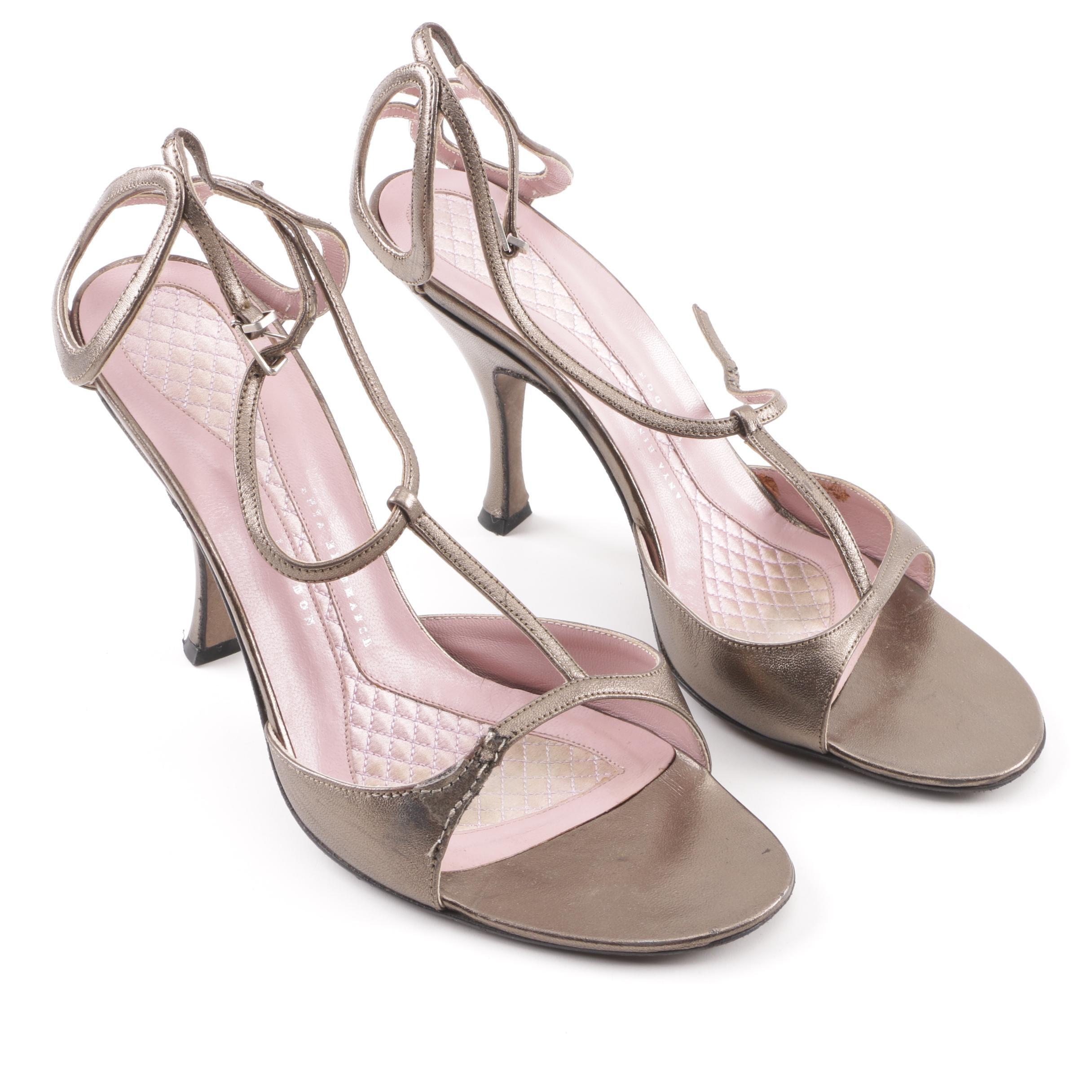 Anya Hindmarch Metallic Leather High-Heeled Sandals