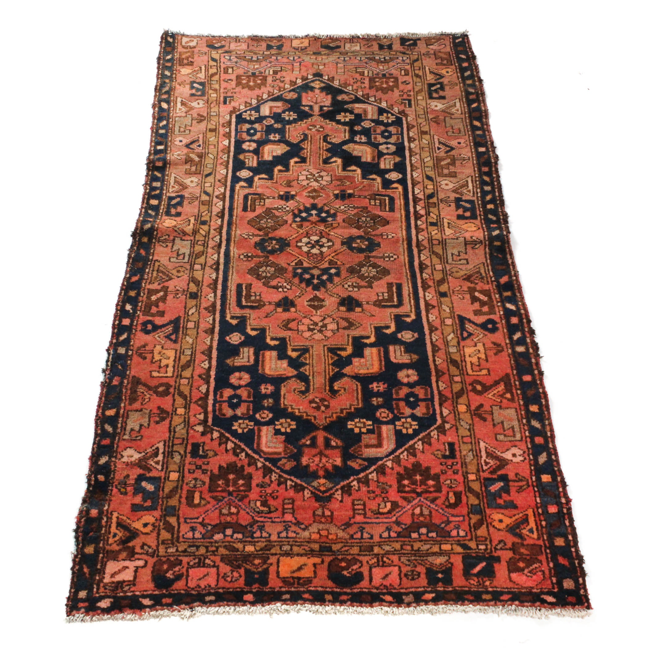 Antique Hand-Knotted Persian Zanjan Rug