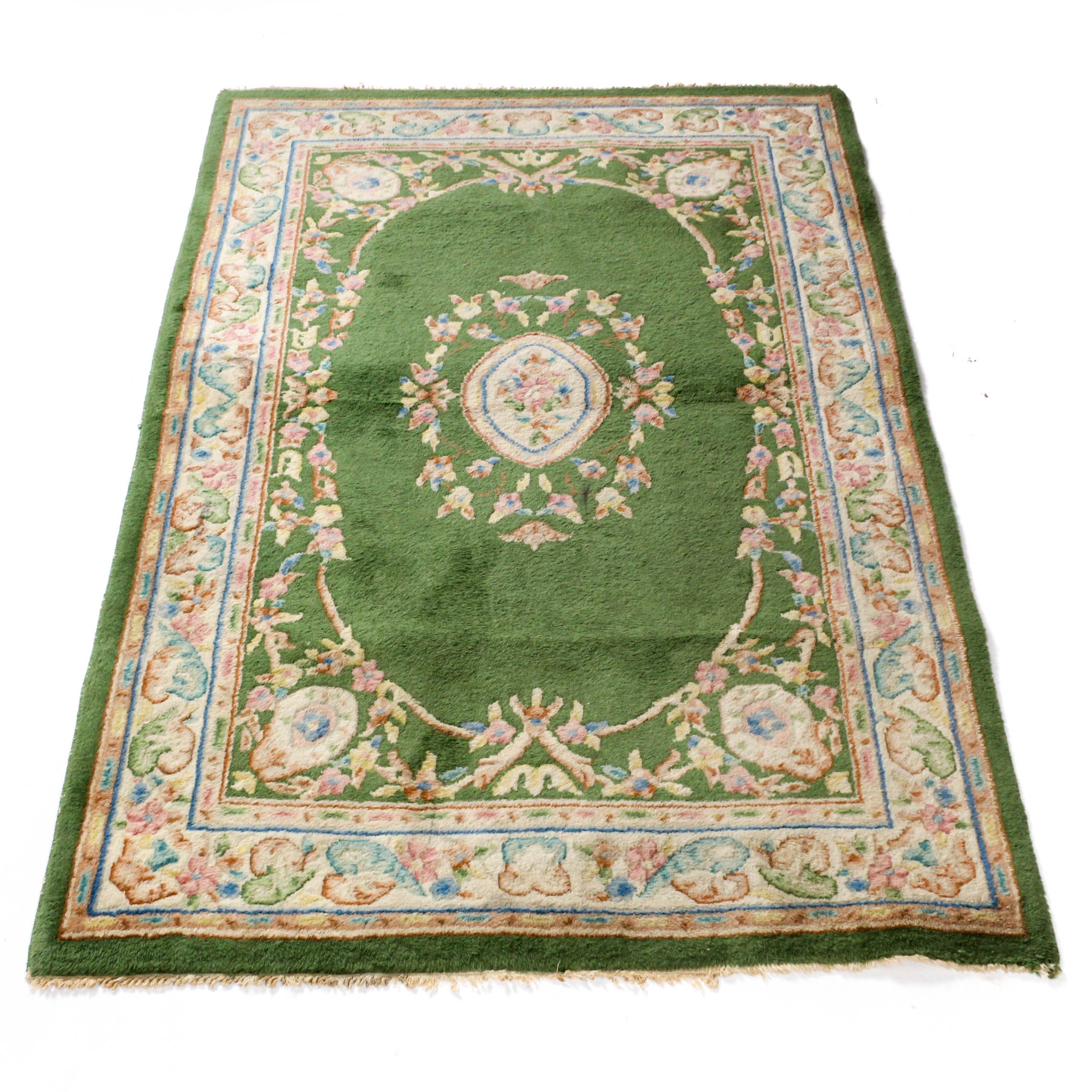 Semi-Antique Hand Knotted Indo-French Aubusson Rug