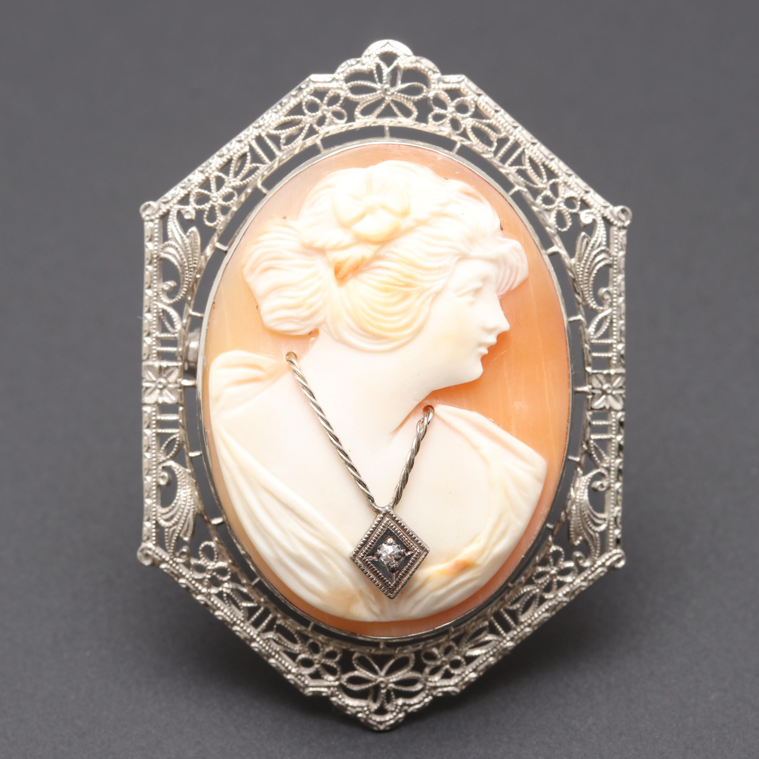 Edwardian 10K White Gold Shell and Diamond Habille Cameo Brooch
